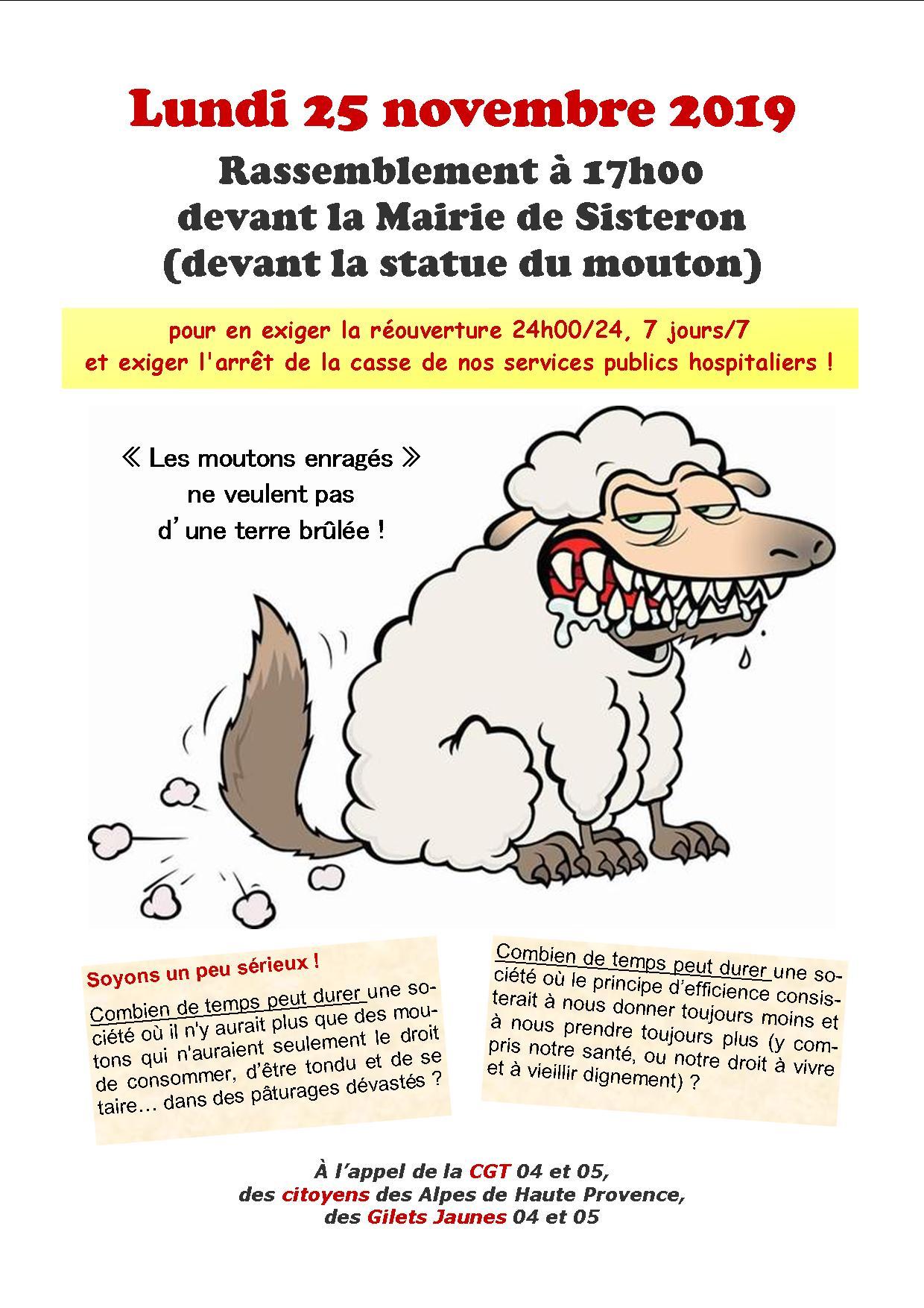 Tract moutons enragés urgences Sisteron 25 novembre 2019