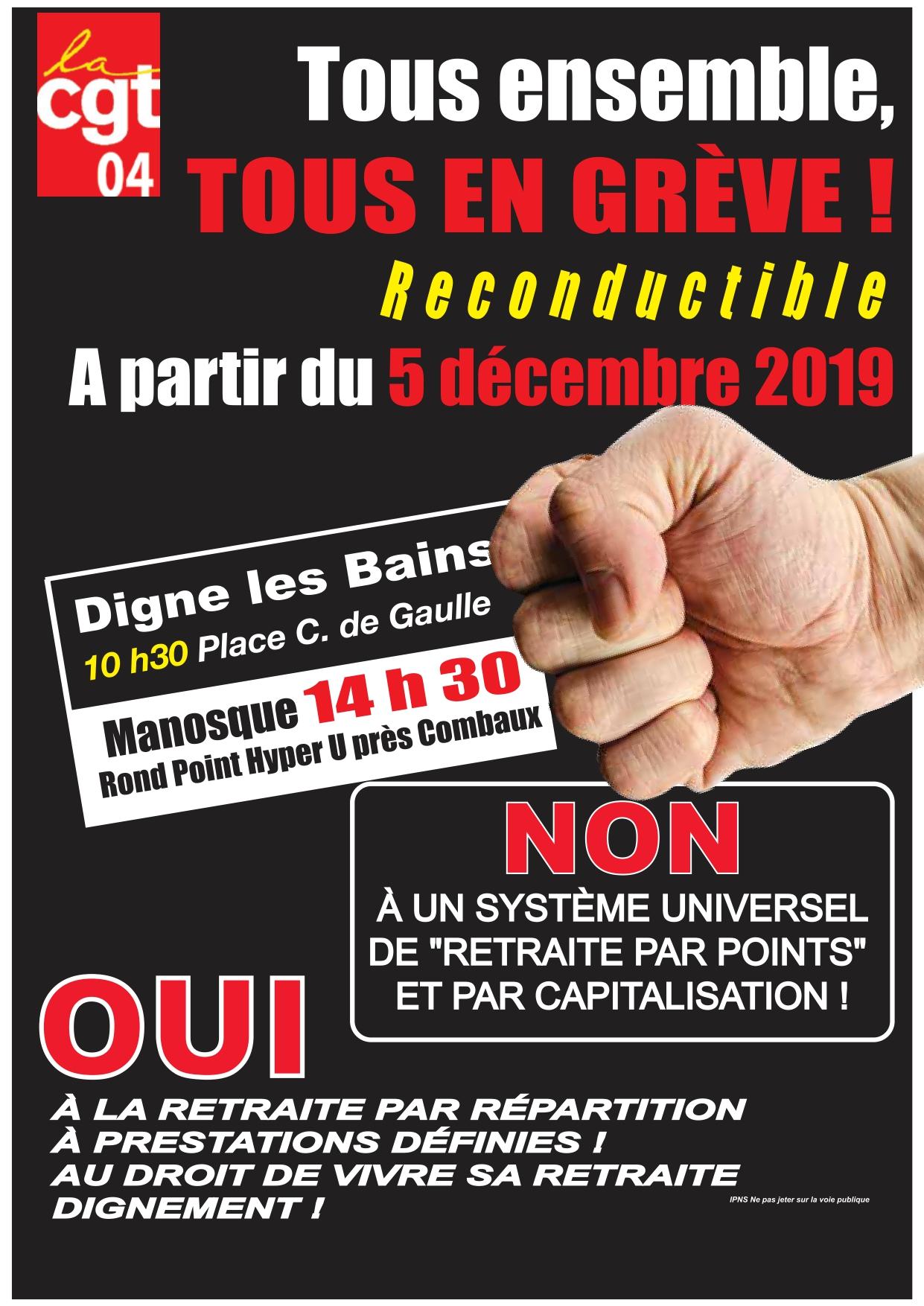 Tract UD CGT 04 grève du 5 décembre 2019