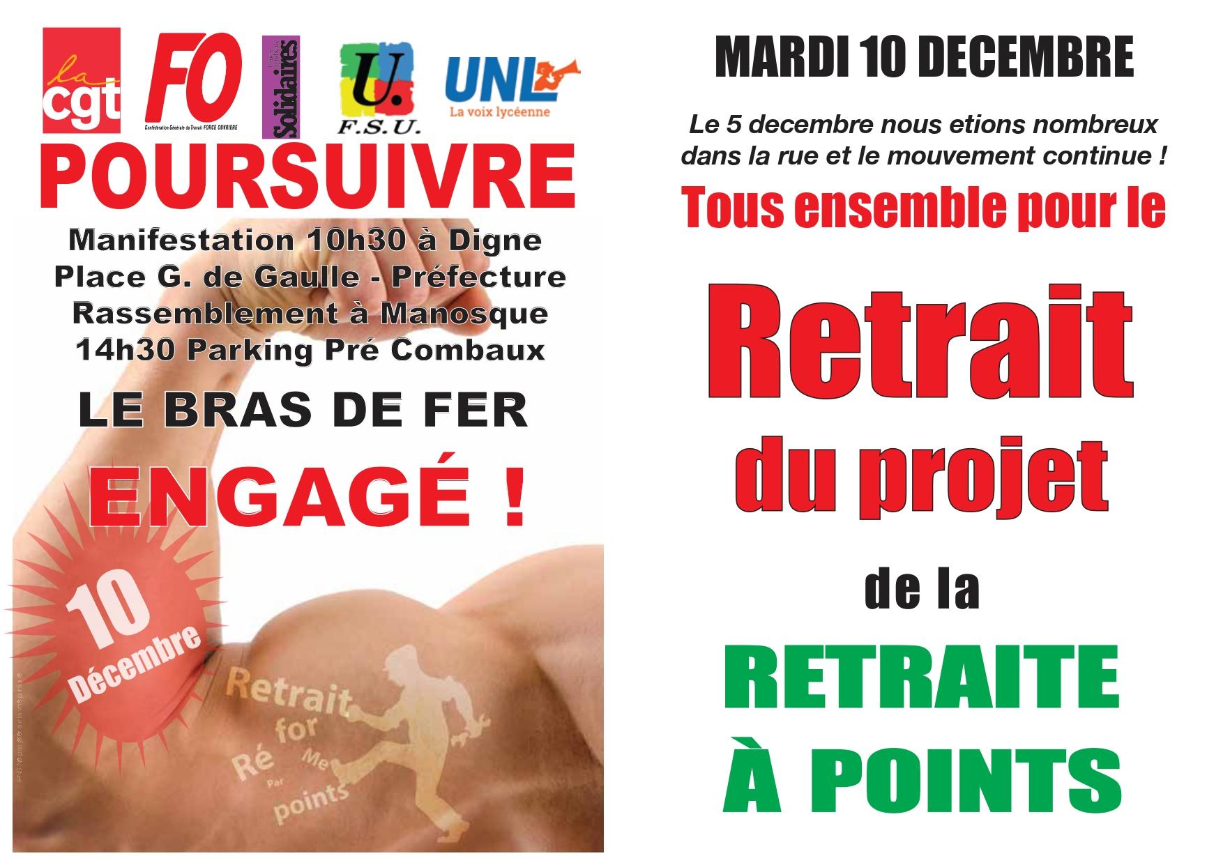 Tract intersyndical réforme des retraites 10 décembre 2019