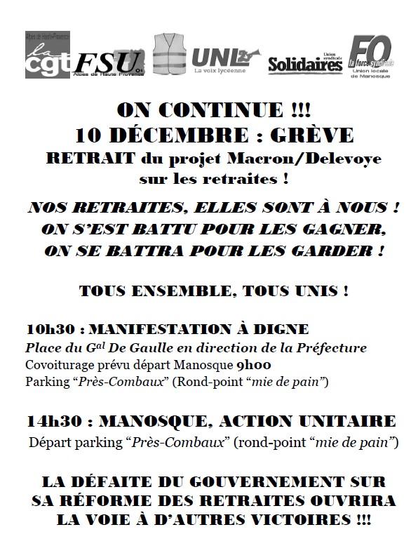 Tract union locale CGT Manosque Réforme Macron Delevoye