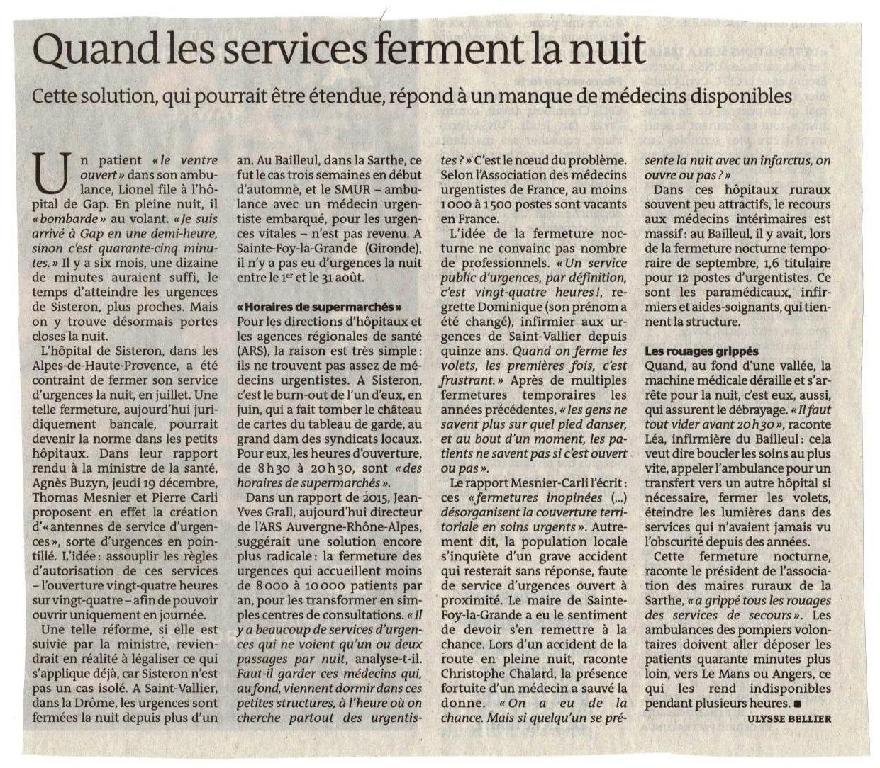 Article du Monde du 21 décembre 2019