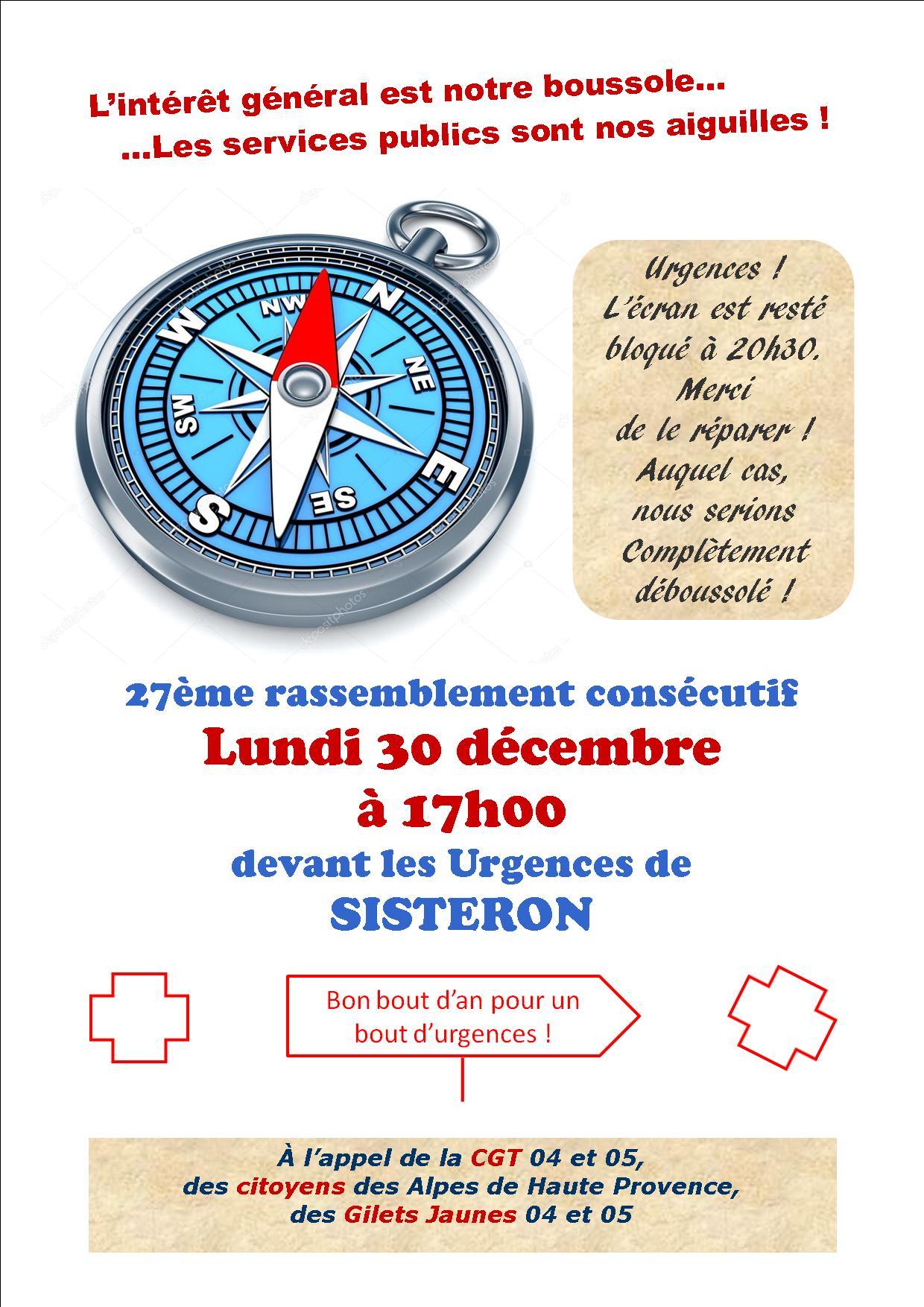 Tract mobilisation Urgences de Sisteron 30 décembre 2019