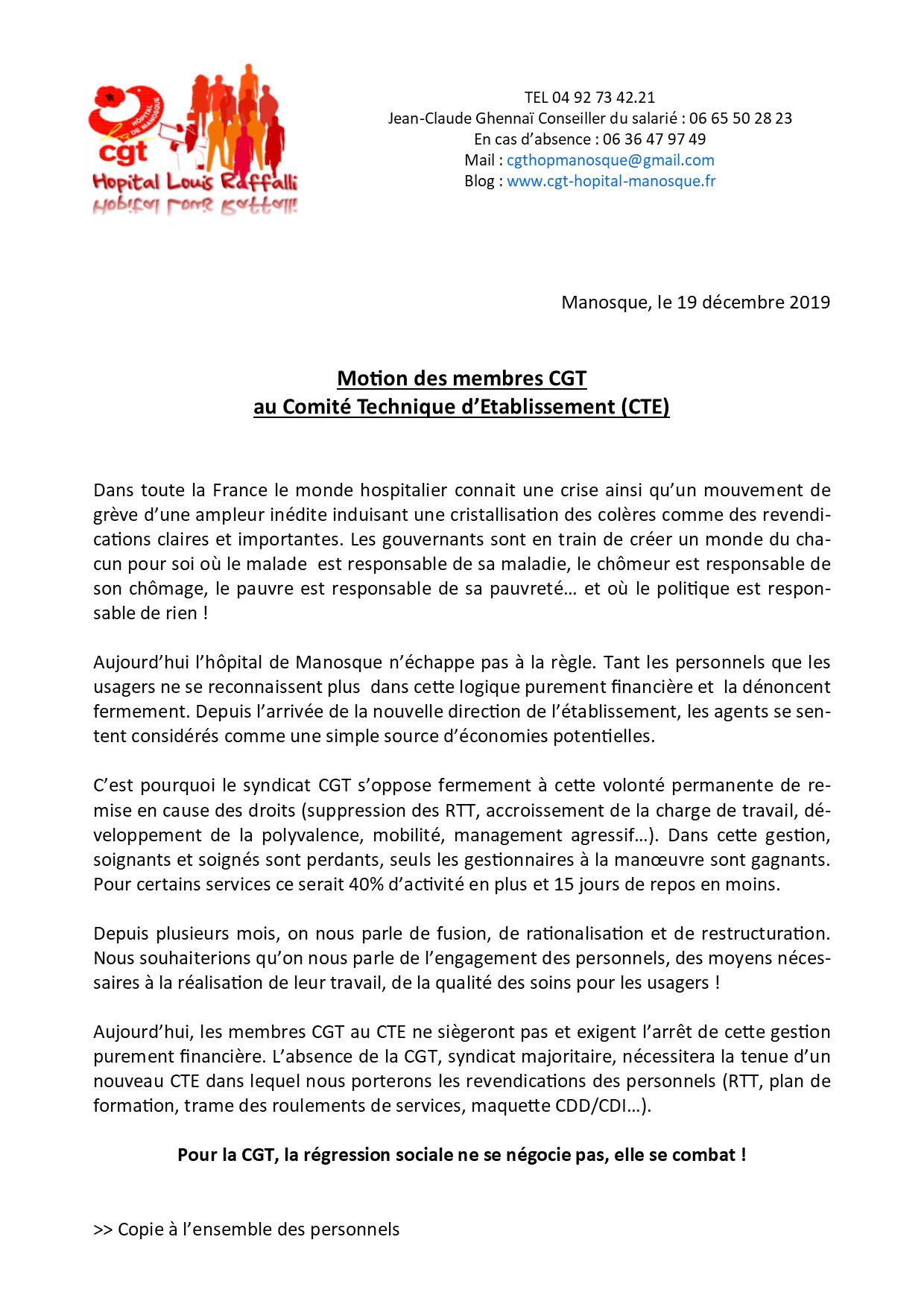 Communiqué CGT CTE du 19 décembre 2019