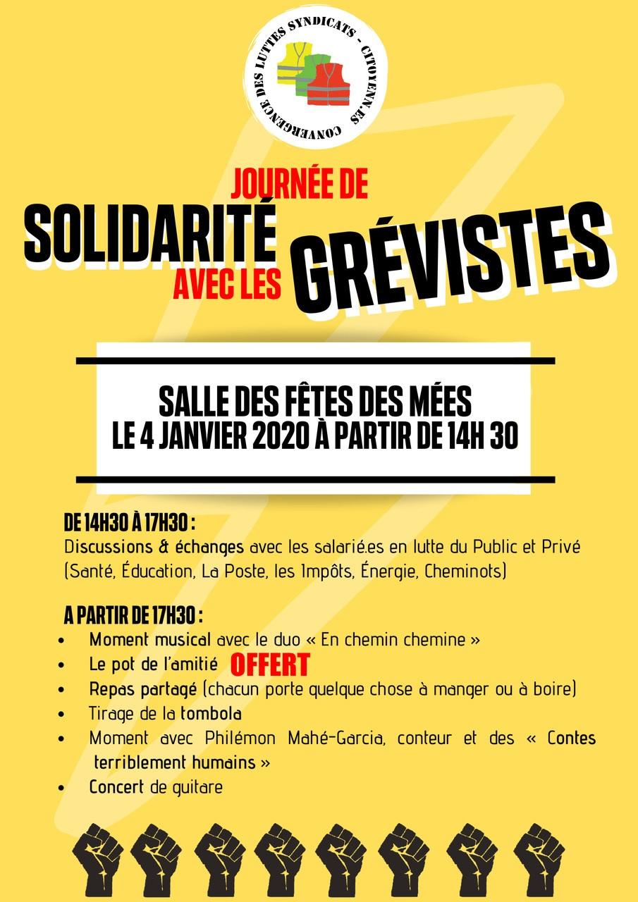 Affiche Journée de solidarité avec les grévistes