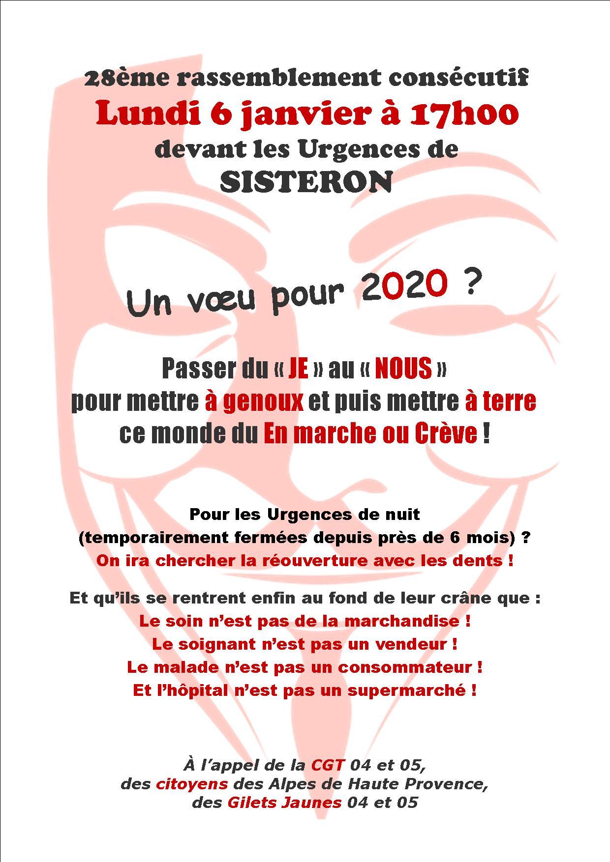 Tract Urgences de Sisteron 6 janvier 2020