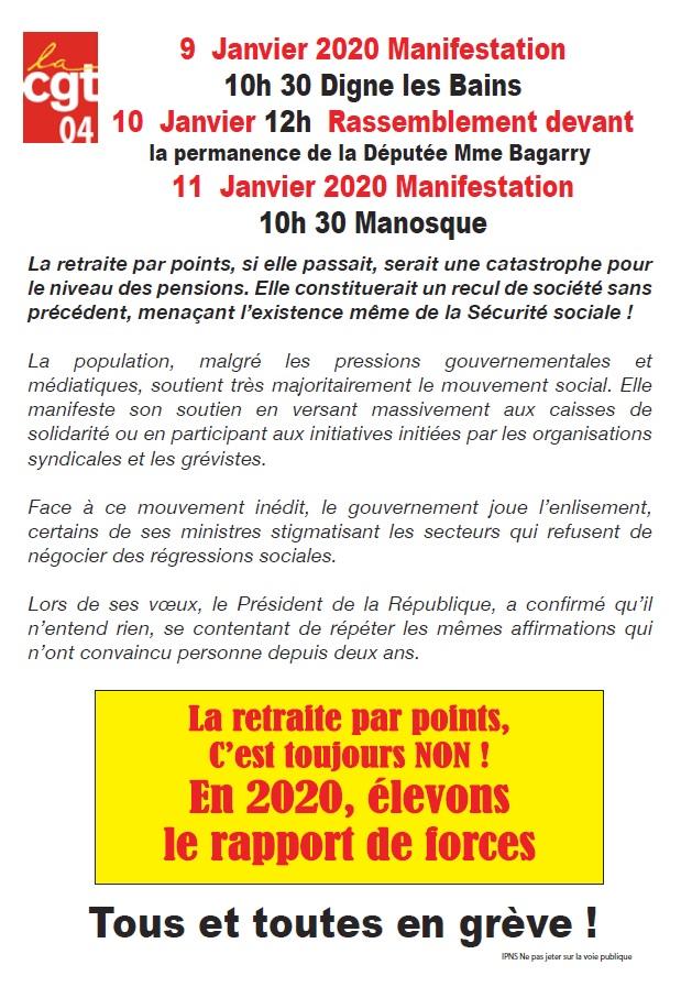 Tract réforme des retraites 9, 10 et 11 janvier 2020