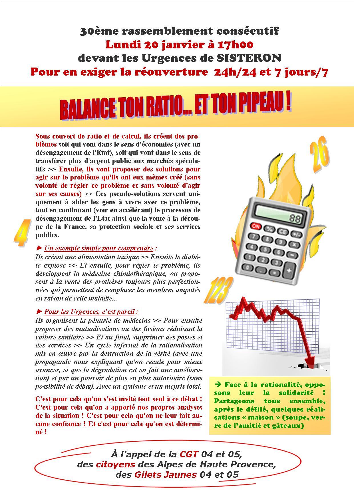 Tract du 20 janvier 2020 30ème mobilisation urgences de Sisteron