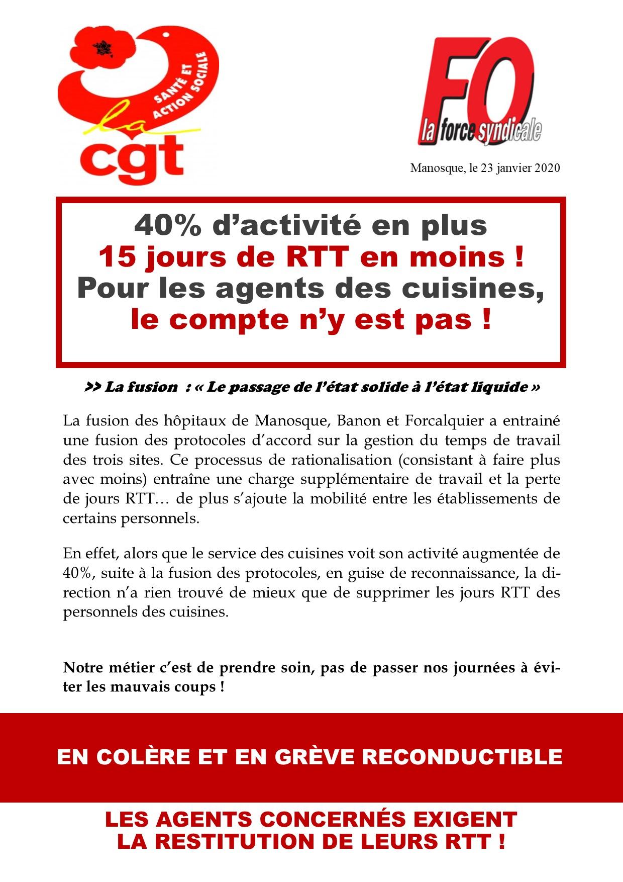 Tract grève cuisine hôpital du 23 janvier 2020
