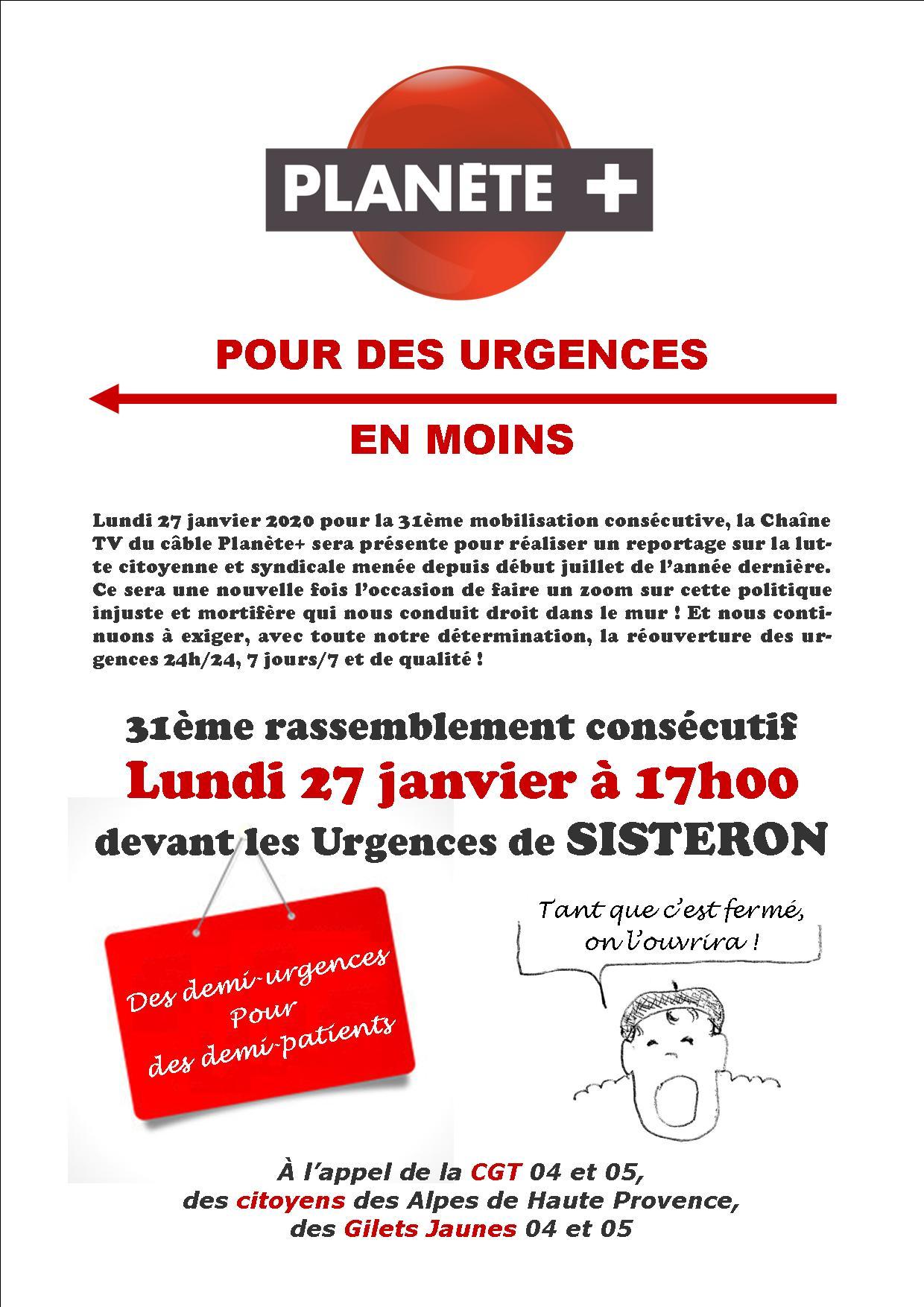 Tract 31ème mobilisation fermeture urgences de Sisteron