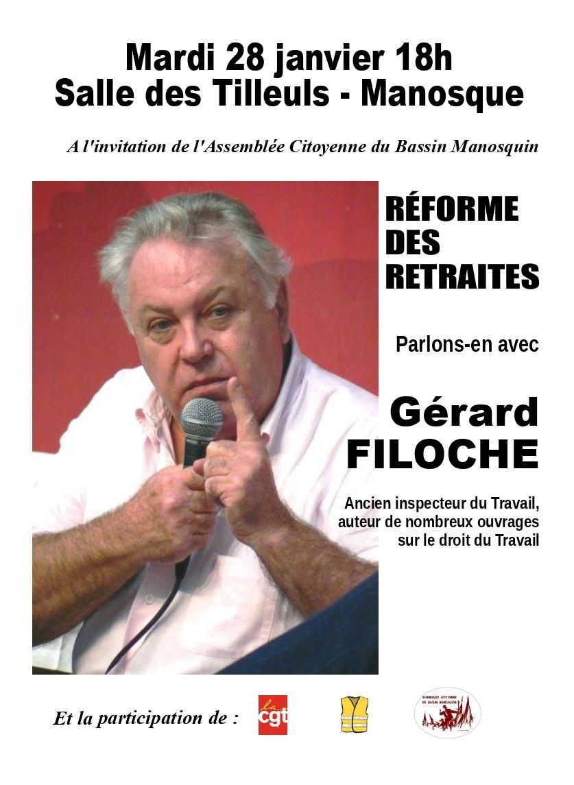 Gérard Filoche à Manosque sur la réforme des retraites