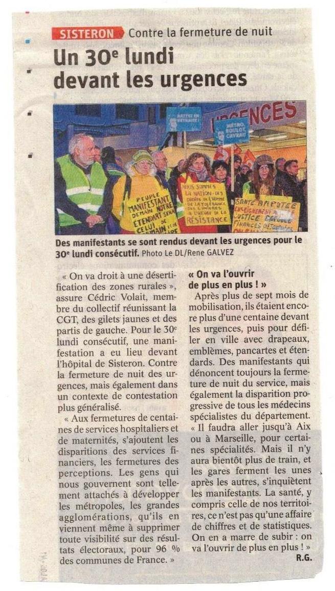 1224. Article Le Dauphiné du 29 janvier 2020