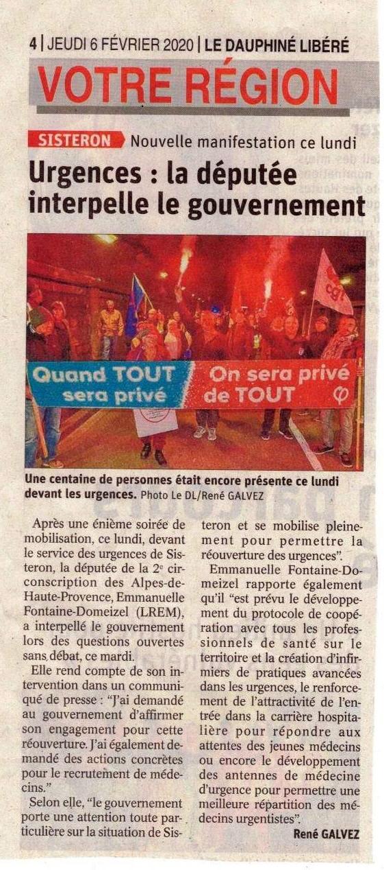 1226. Article Le Dauphiné du 6 février 2020