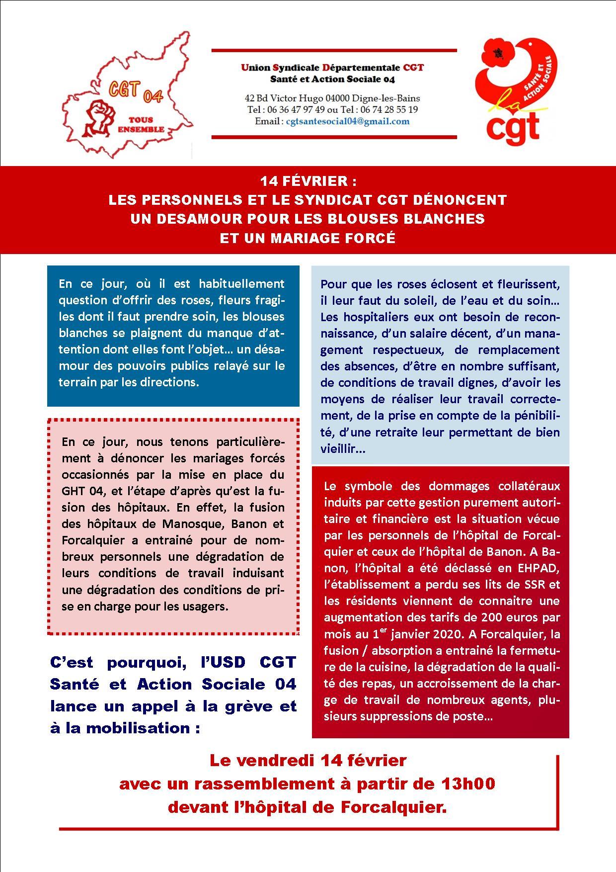 1227. Grève et rassemblement à l'hôpital de Forcalquier le 14 février 2020