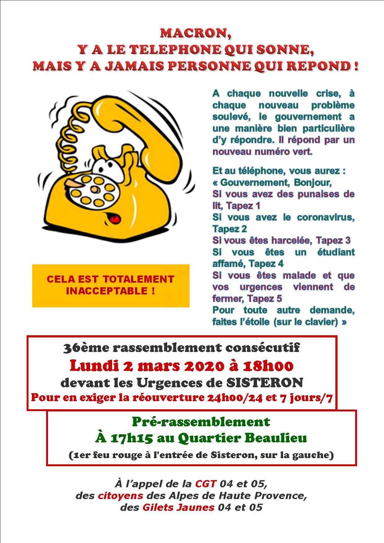 Tract Urgences Sisteron 2 mars 2020