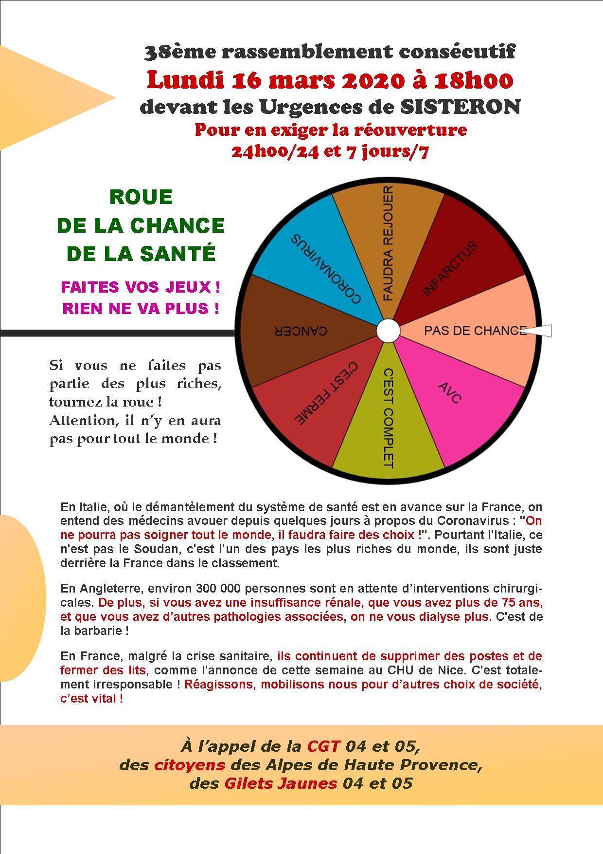 Tract urgences de sisteron Coronavirus 16 mars 2020