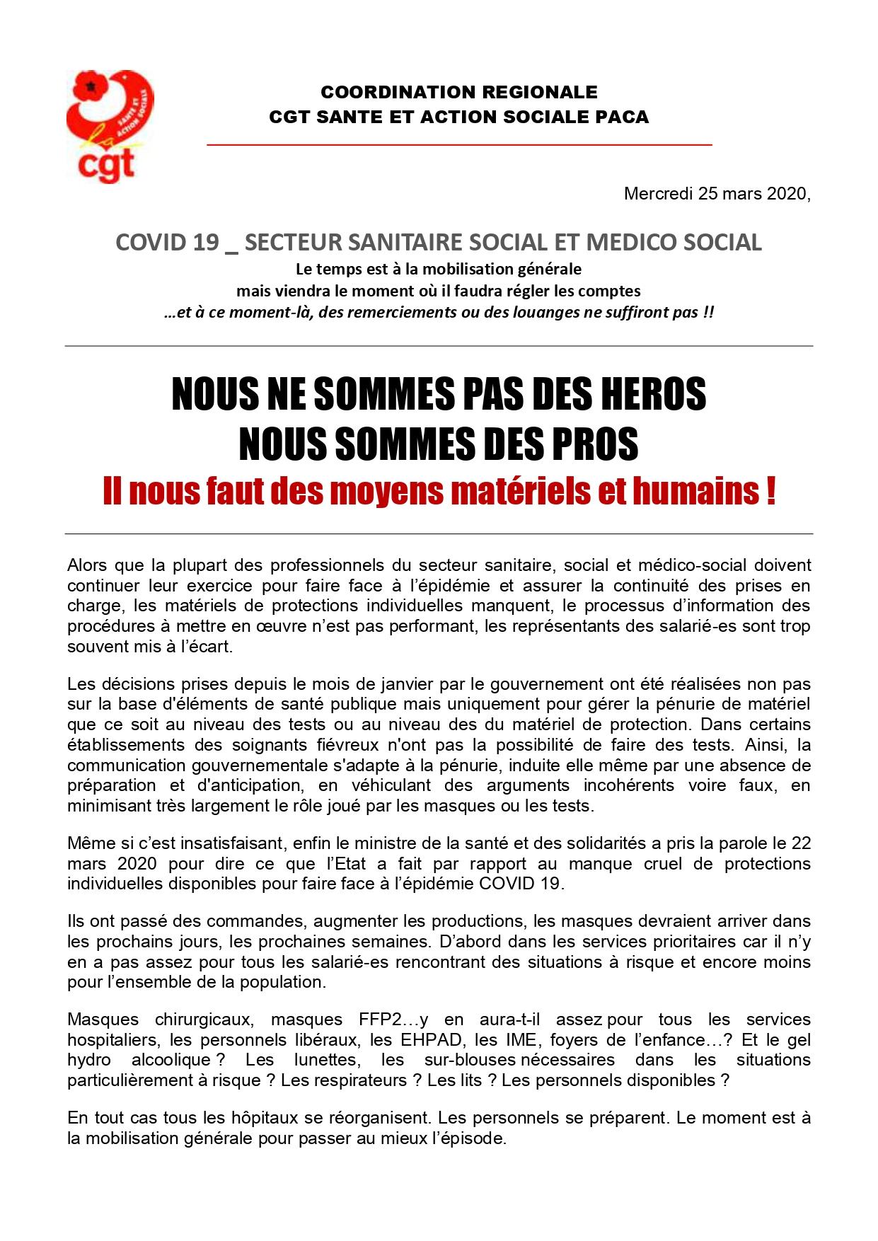 Covid-19 Communiqué Coordination Régionale PACA du 25 mars 2020 (1)