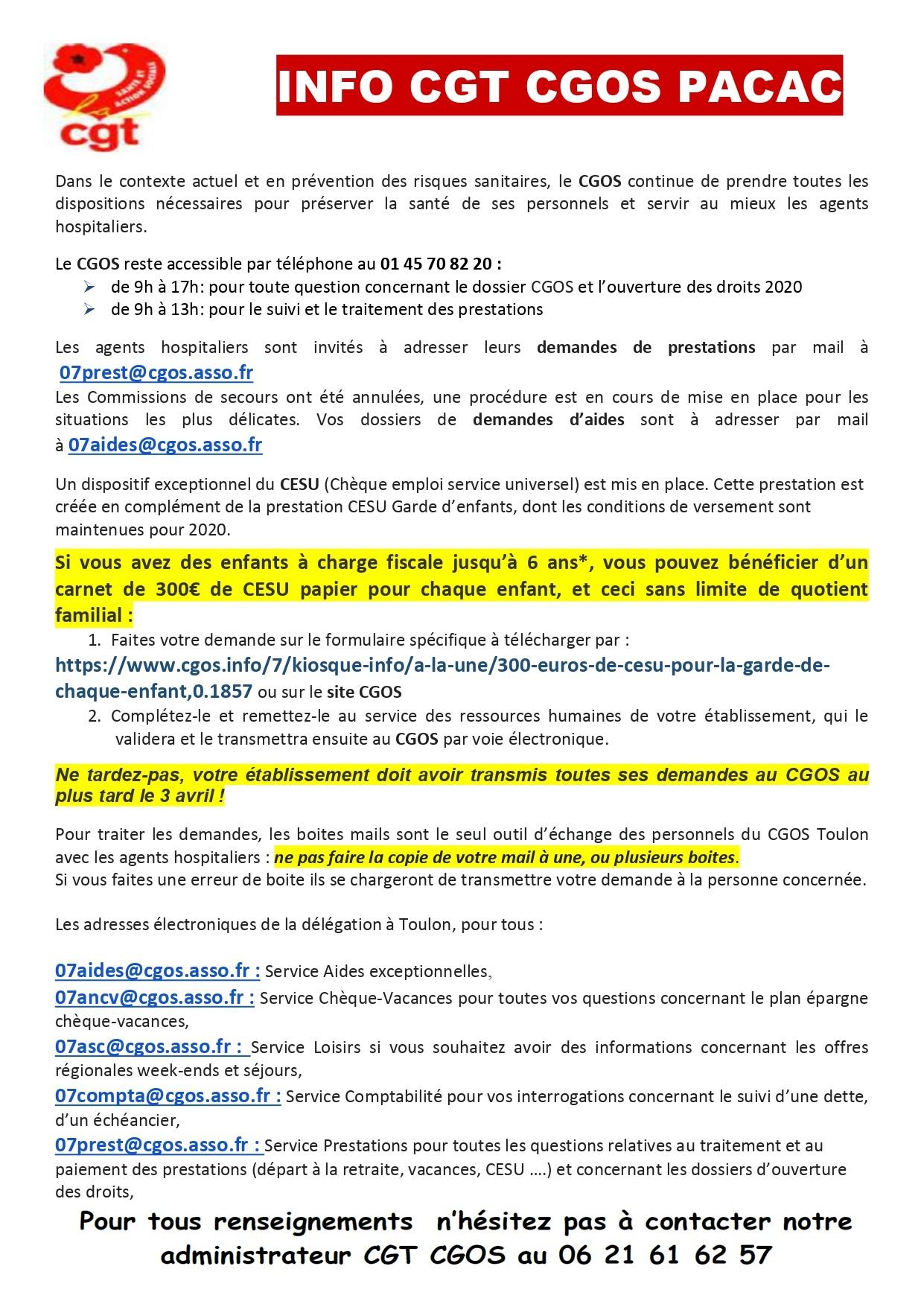 Tract CGT CGOS CESU COVID-19, mars 2020