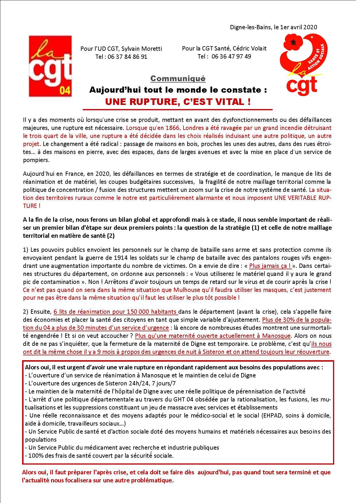 Communiqué UD USD santé Coronavirus