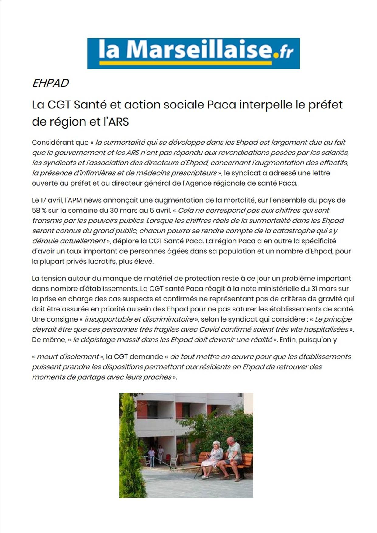 Article EHPAD CGT PACA La Marseillaise le 25 avril 2020