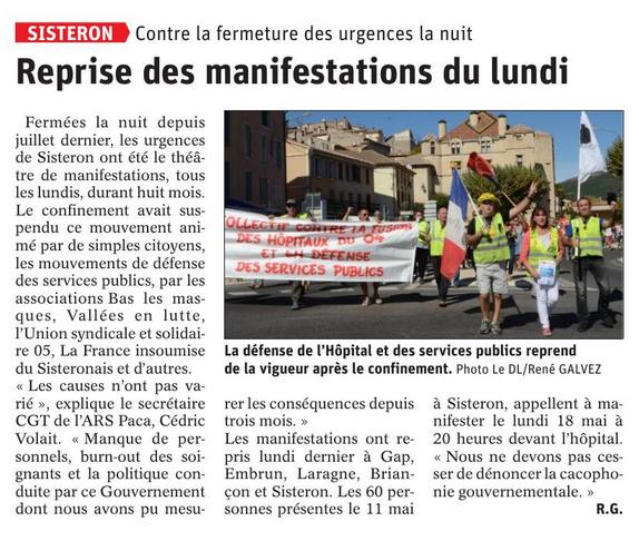 Article Le Dauphiné du 15 mai 2020