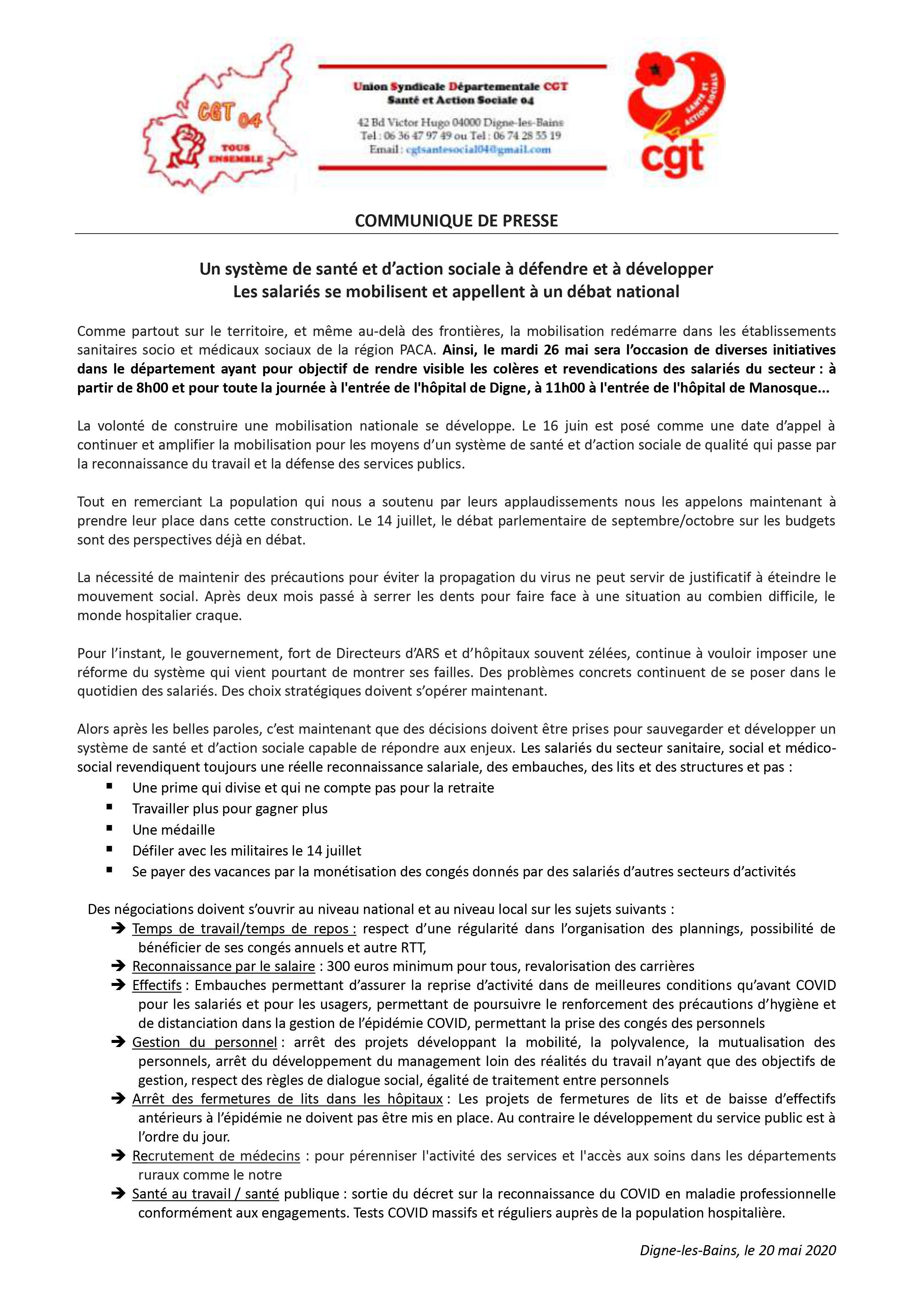 1263.1 Communiqué de presse USD CGT Santé 26 mai 2020