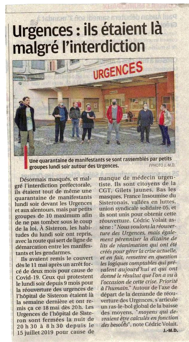 1263.2 Article La Provence du 20 mai 2020