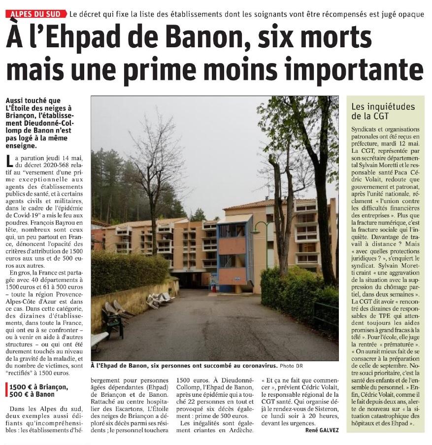 1263.4 Article Le Dauphiné du 18 mai 2020 prime et RDV avec le Préfet