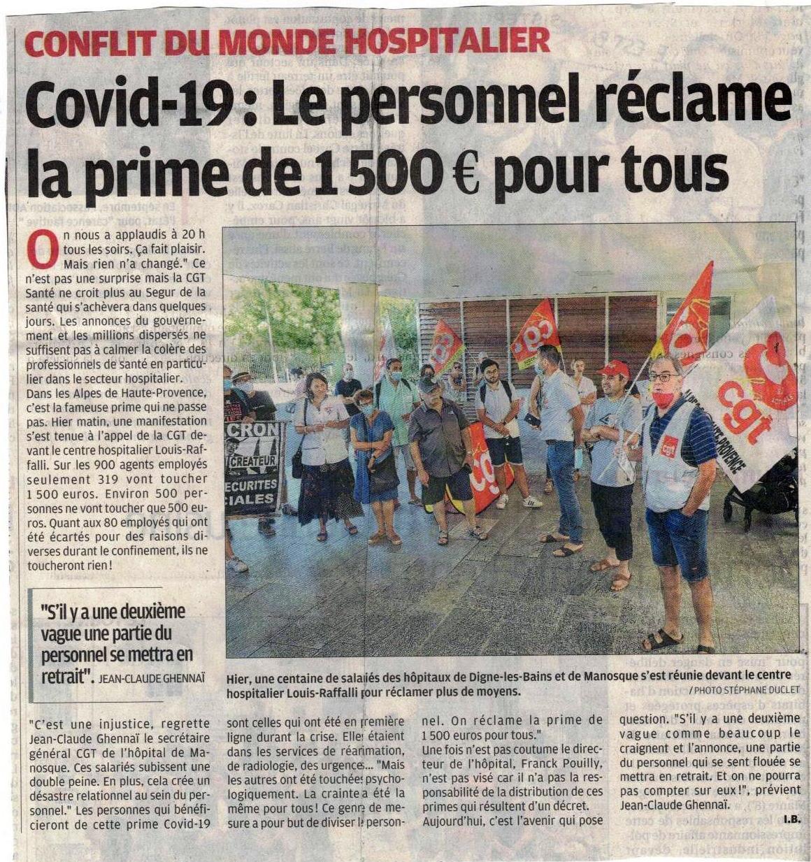 1269. Article La Provence du 1er juillet 2020 CGT Hôpital de Manosque
