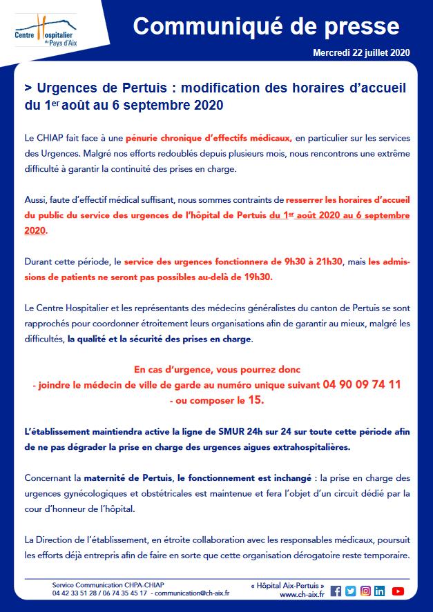 1277. Communiqué 22 juillet 2020 CH Aix Pertuis fermeture Urgences