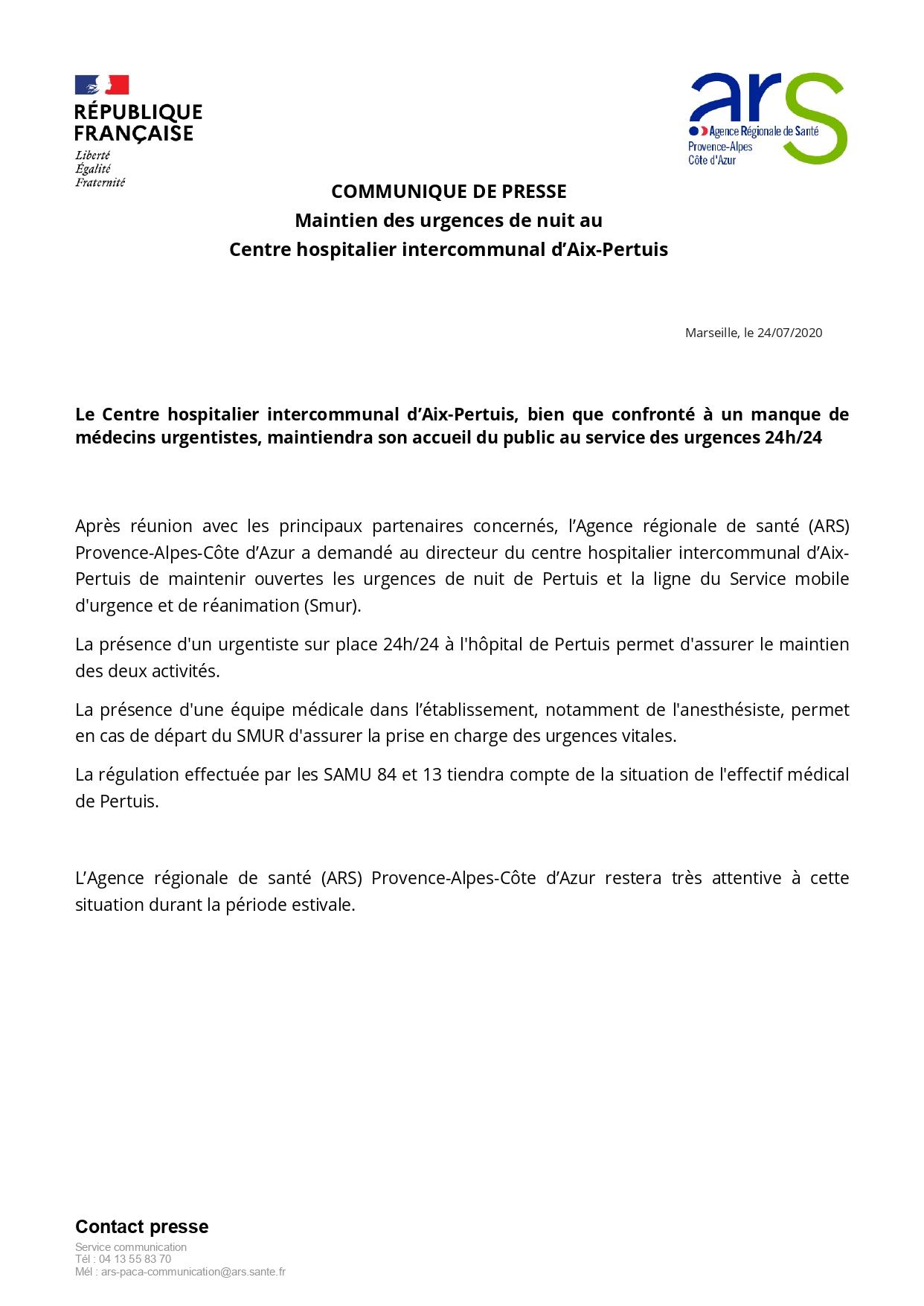 1277. Communiqué 24 juillet 2020 Urgences Pertuis ARS PACA