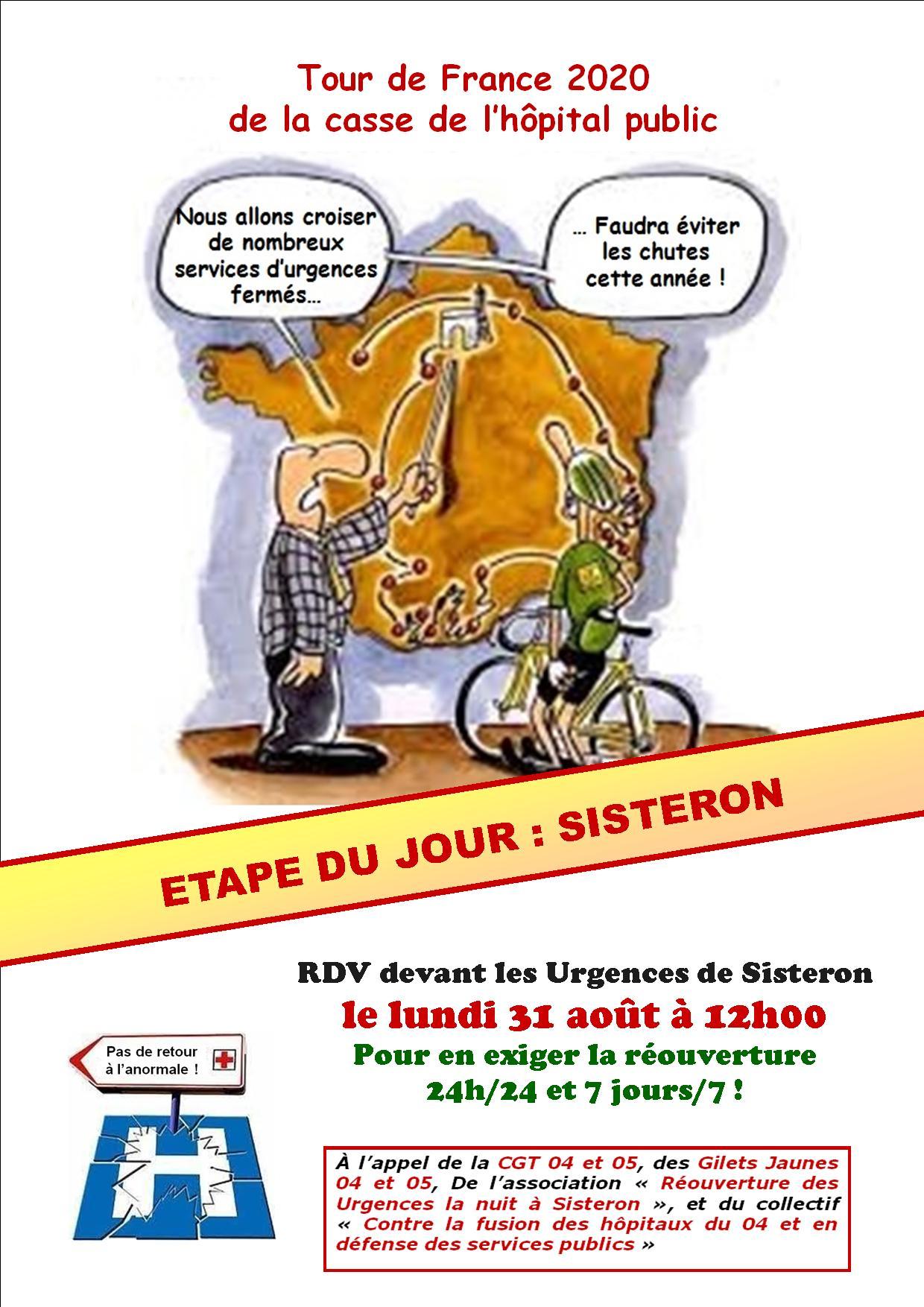 Tract Tour de France Urgences de Sisteron 31 août 2020