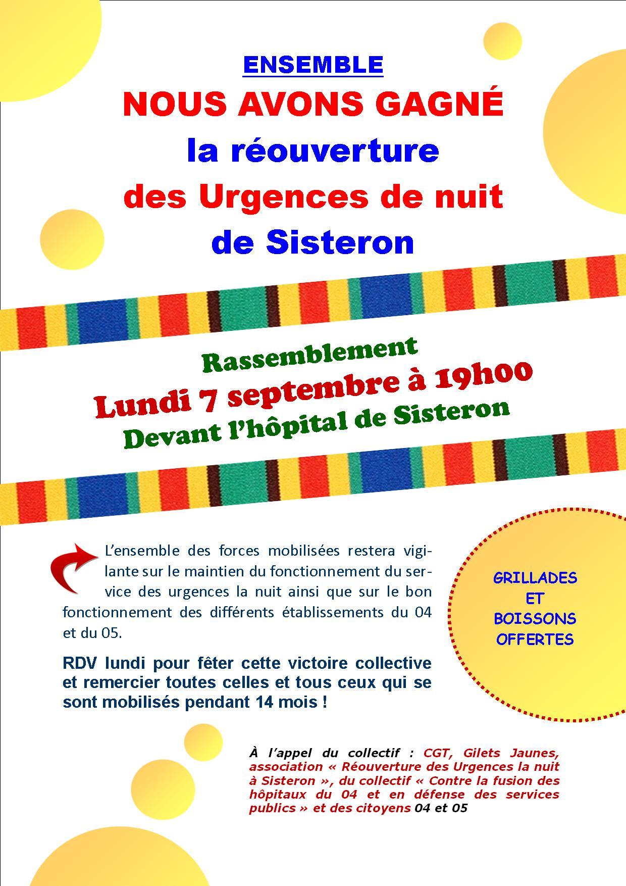 1288. Victoire Réouverture des Urgences la nuit de Sisteron
