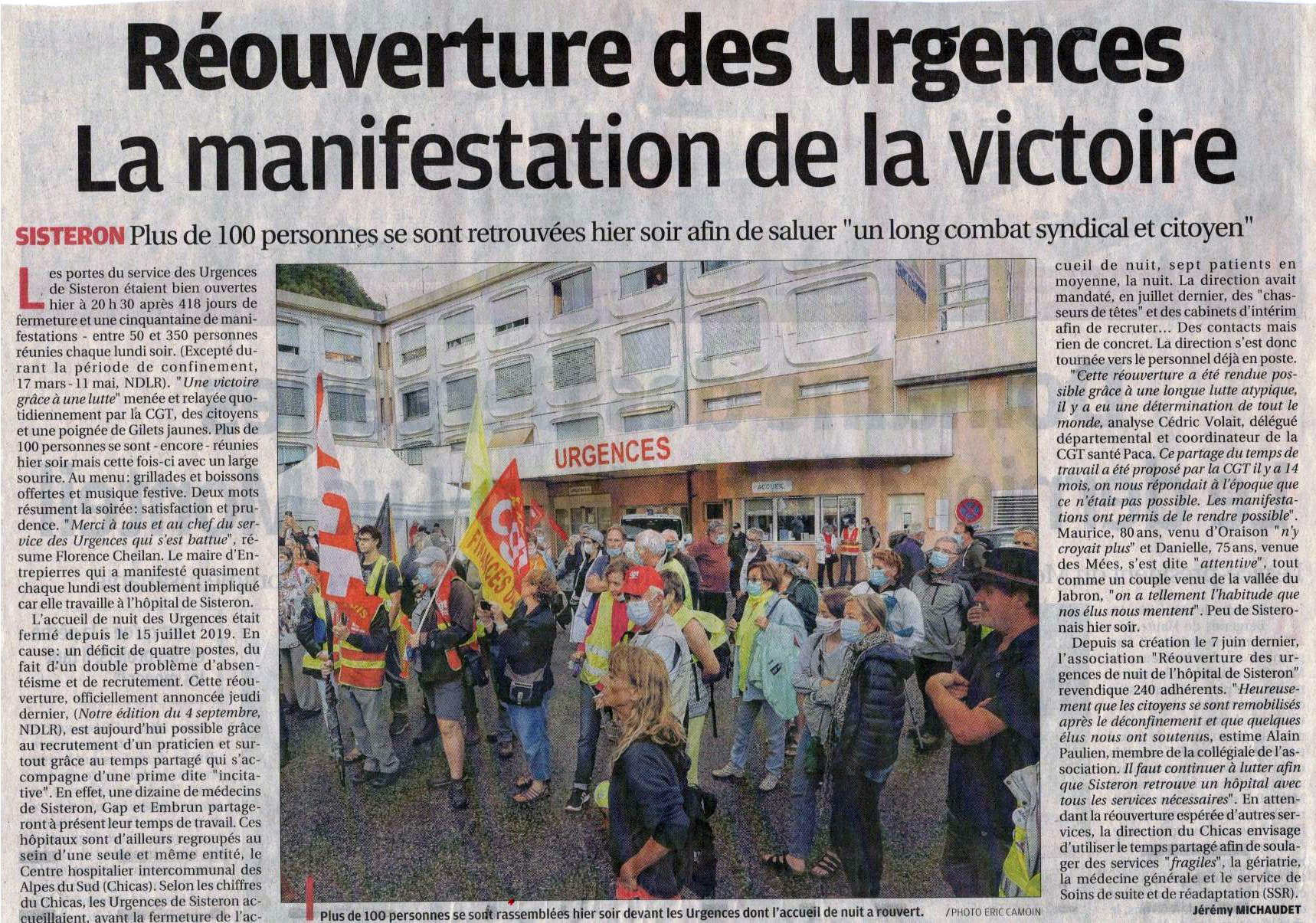 1290. Article La Provence du 8 septembre 2020