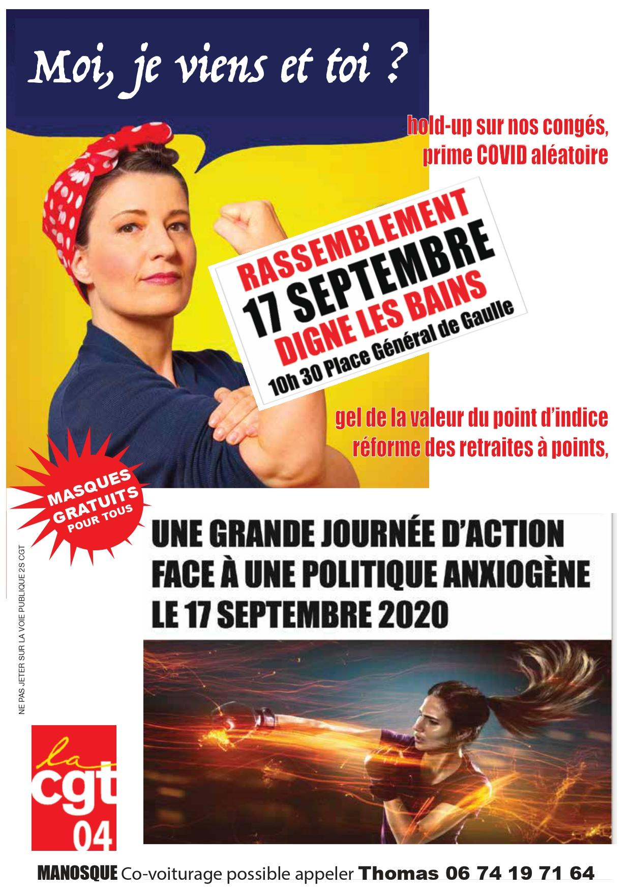 1291. Tract UD CGT 04 pour le 17 septembre 2020