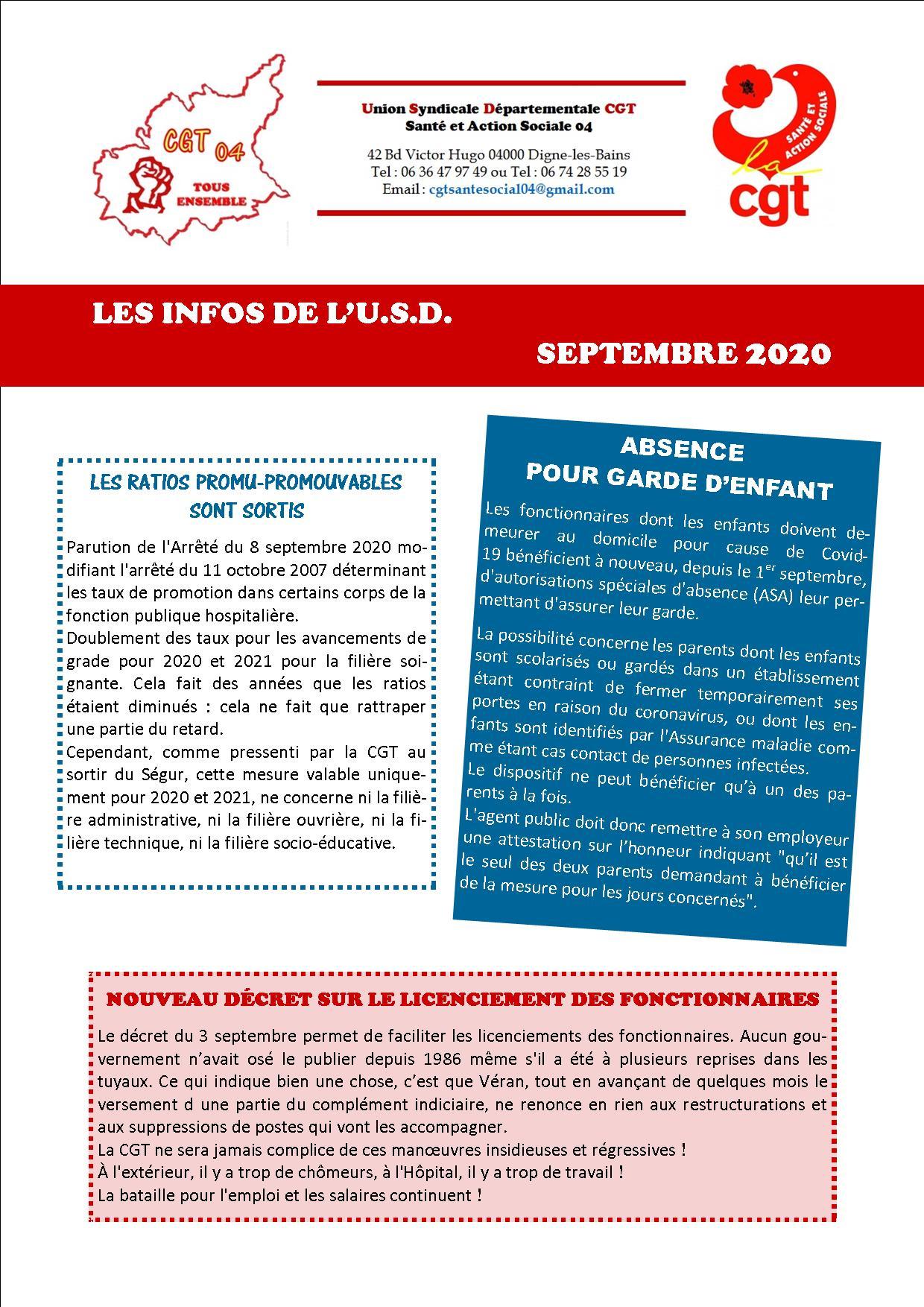 1296. Tract USD CGT Santé et Action Sociale 04 actualité septembre 2020 (p1)