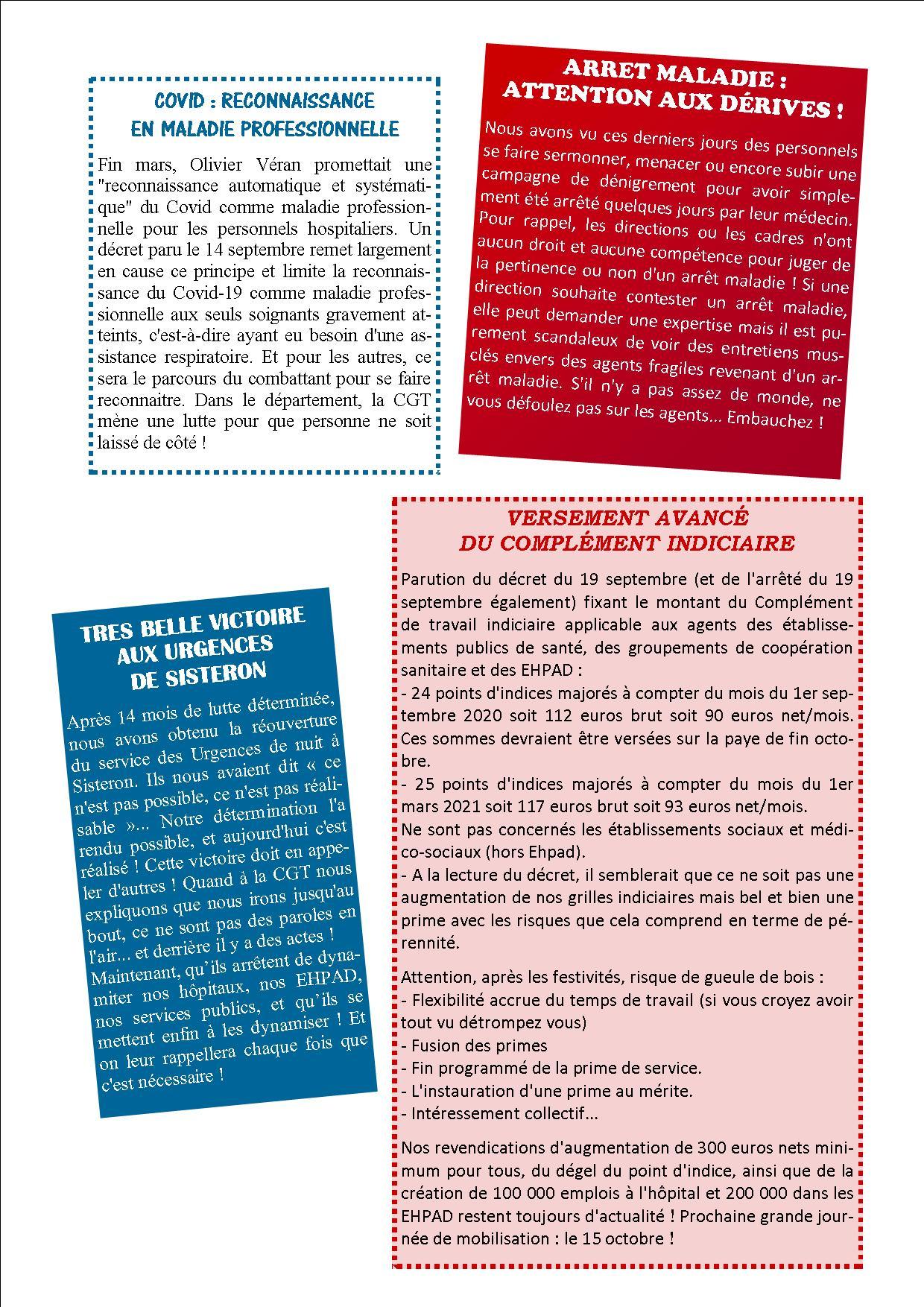 1296. Tract USD CGT Santé et Action Sociale 04 actualité septembre 2020 (p2)