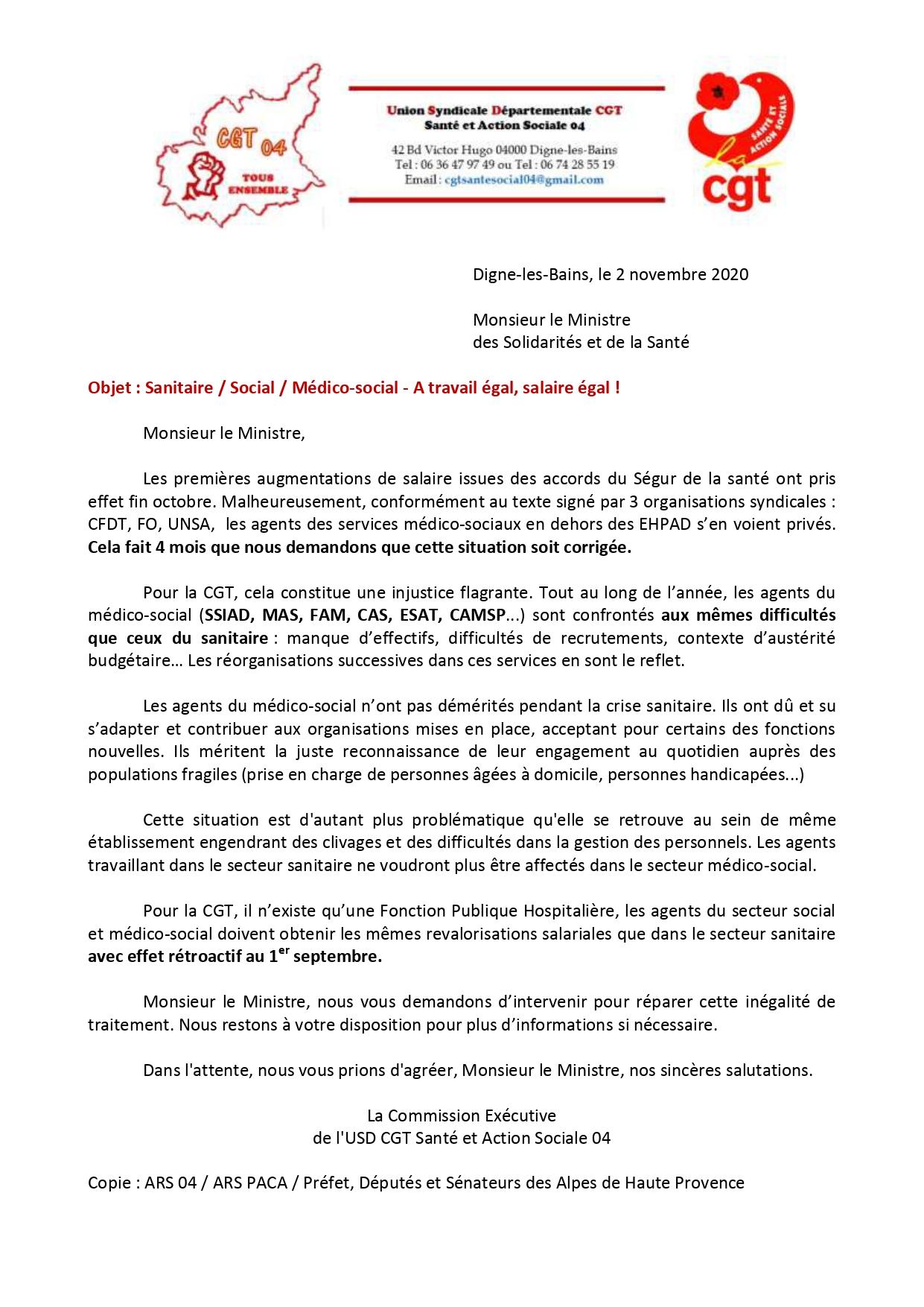 1305. Courrier médico-social 183 euros Ségur de la santé