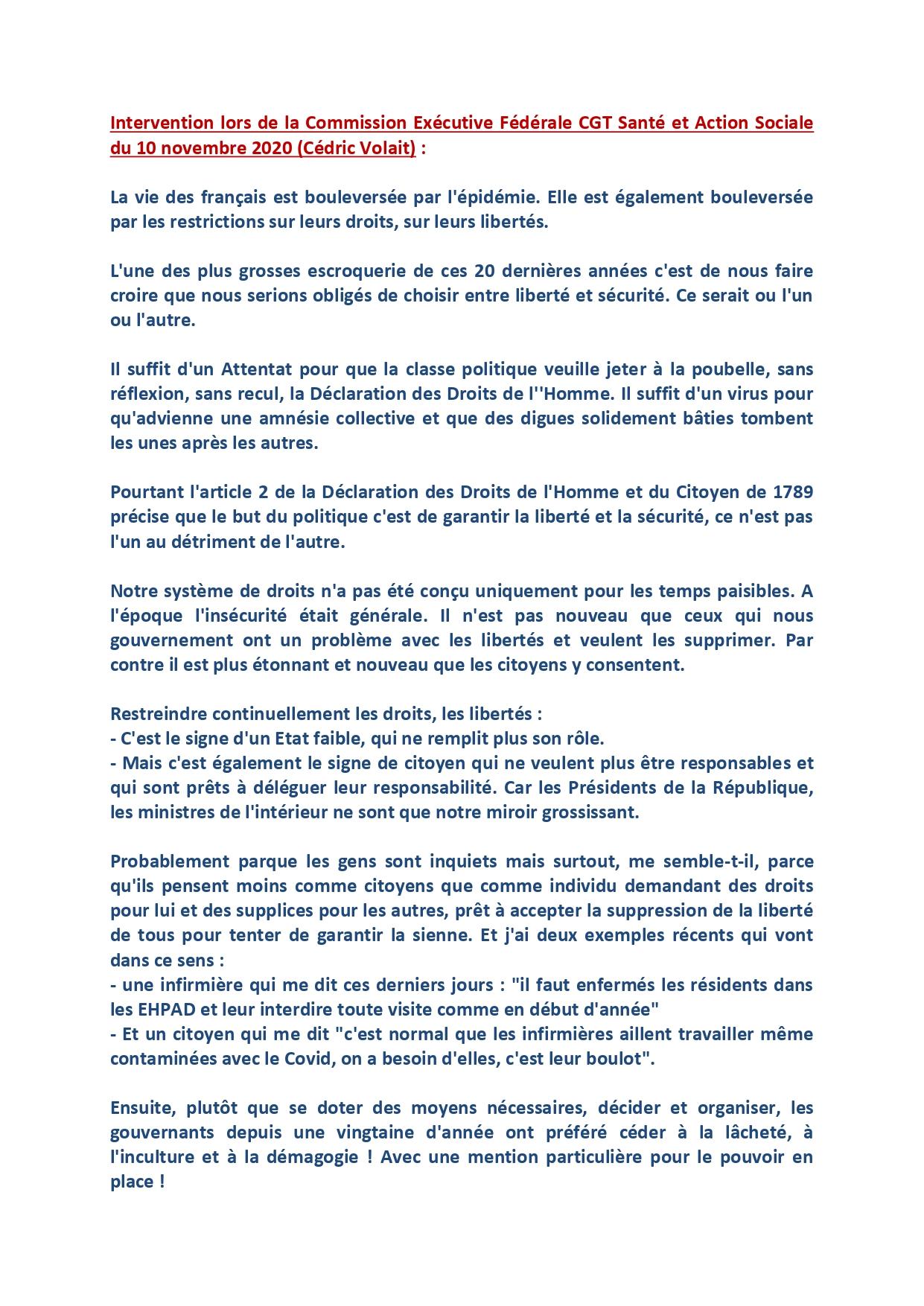 1307. Intervention CE Fédérale CGT Santé sur les Libertés (1 sur 2)