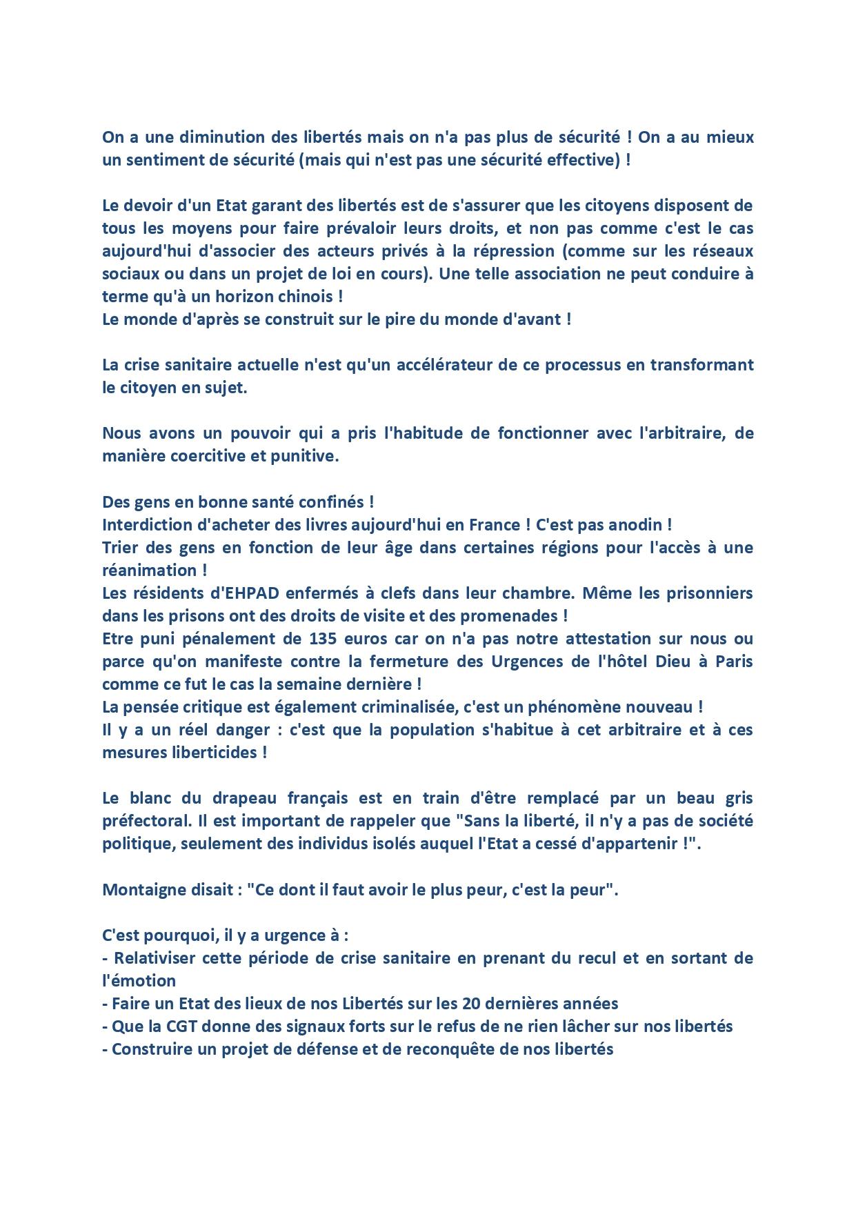 1307. Intervention CE Fédérale CGT Santé sur les Libertés (2 sur 2)
