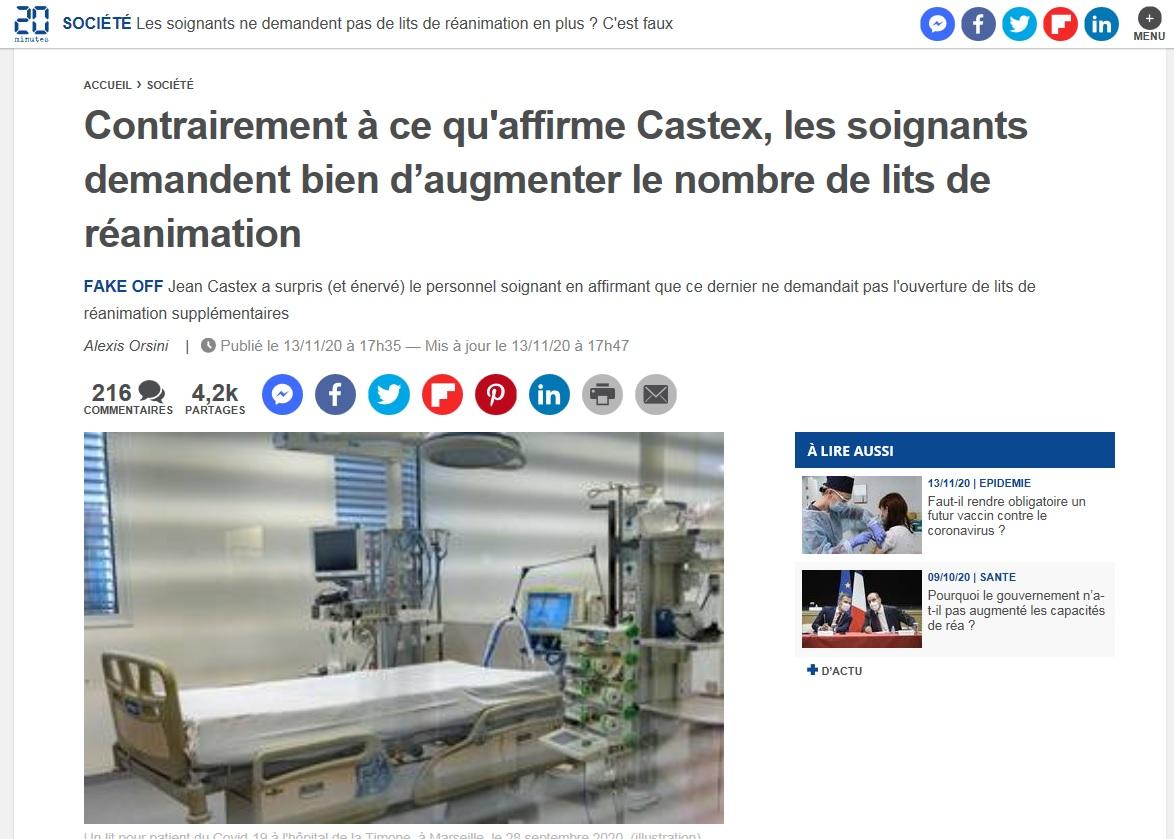 1309. Non Castex, les soignants demandent plus de lits de réanimation