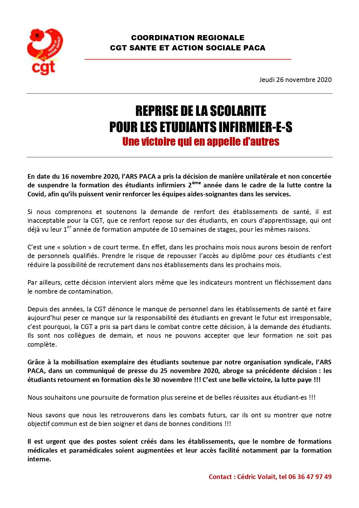 1313. Communiqué CGT Santé PACA étudiants infirmiers