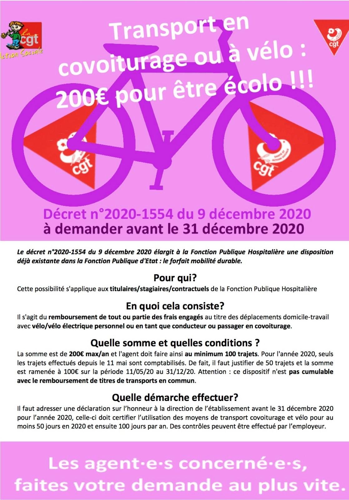 1323. Décret 2020-1554 200 euros pour être écolo