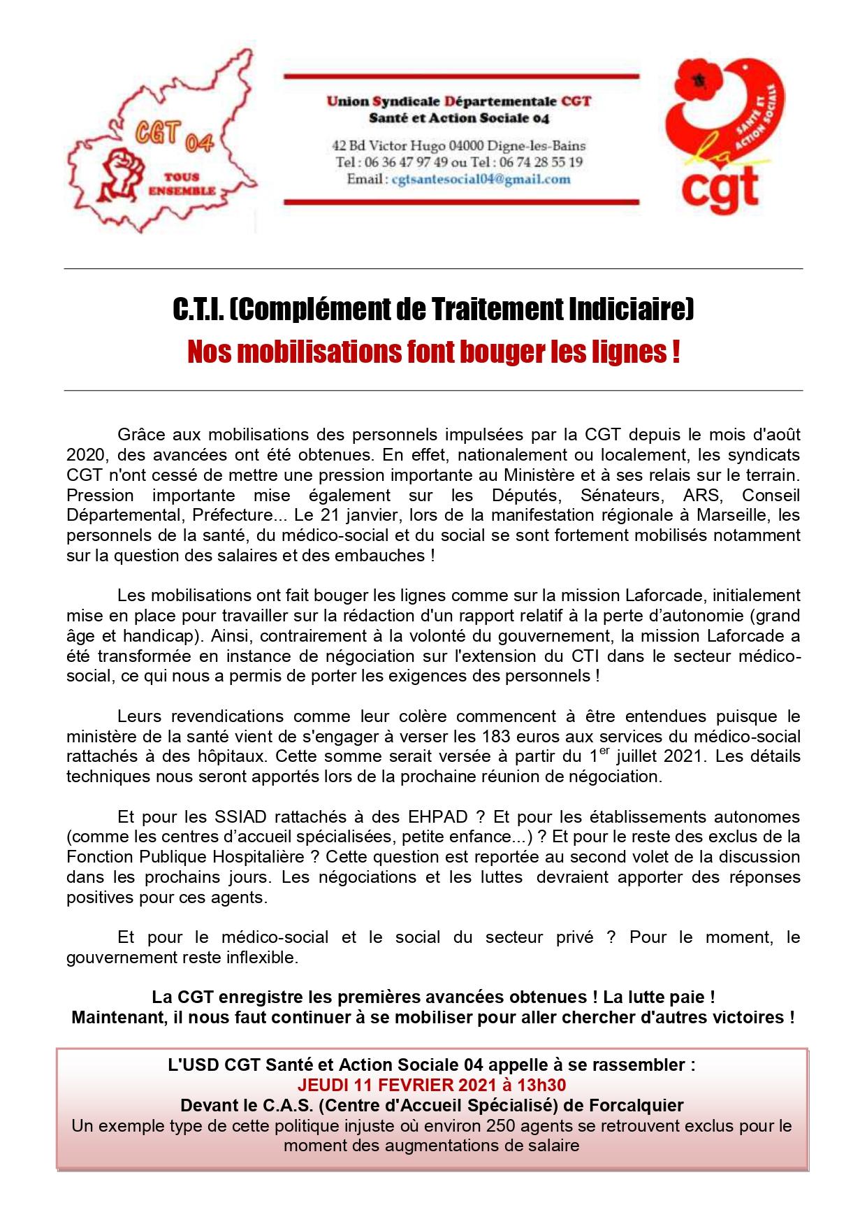 Communiqué USD CGT 04 du 28 janvier 2021 Ségur CTI