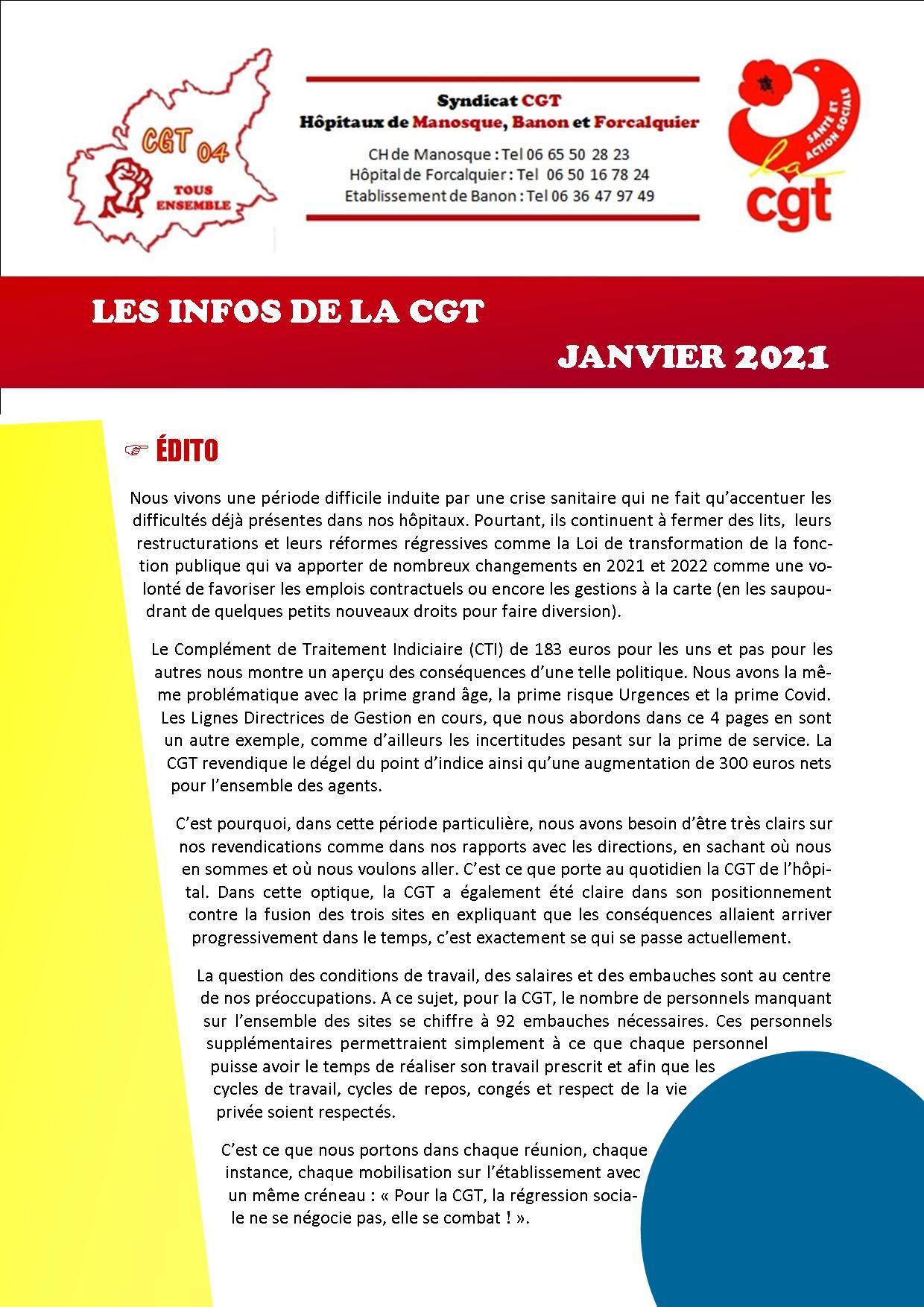 1338. 4 pages CGT Hôpital de Manosque Banon Forcalquier janvier 2021 (1)