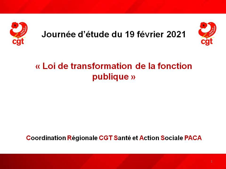 Journée d'étude Loi de transformation de la fonction publique