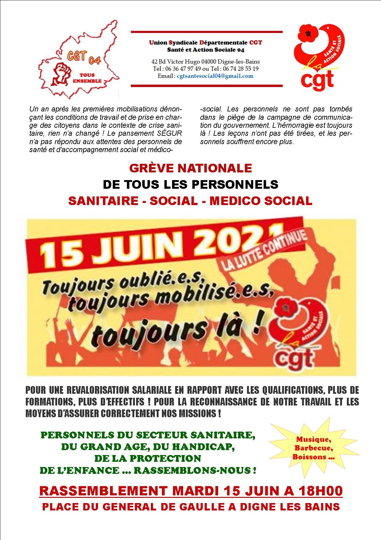 1360. Tract mobilisation CGT Santé du 15 juin 2021