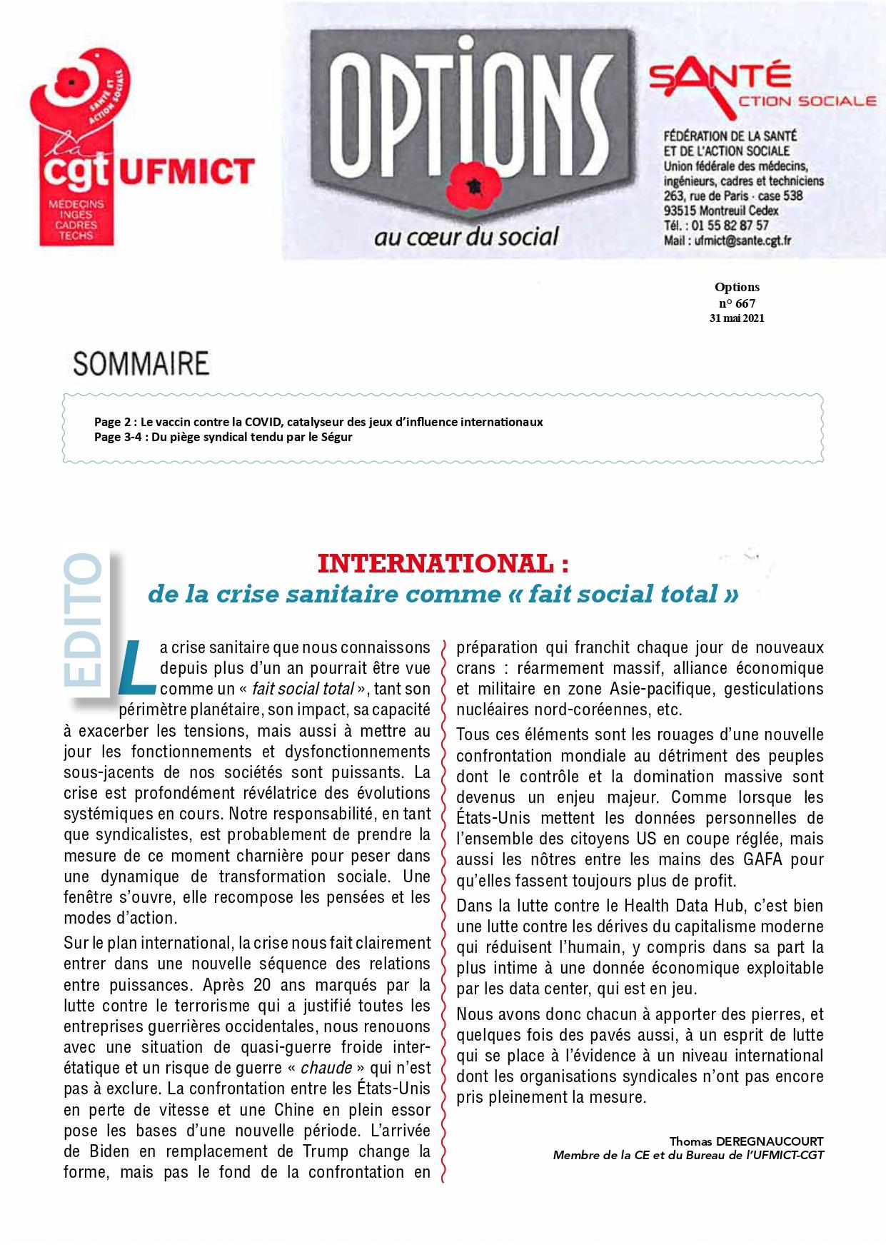 1361. UFMICT CGT Santé Options 667 du 31 mai 2021 (1)