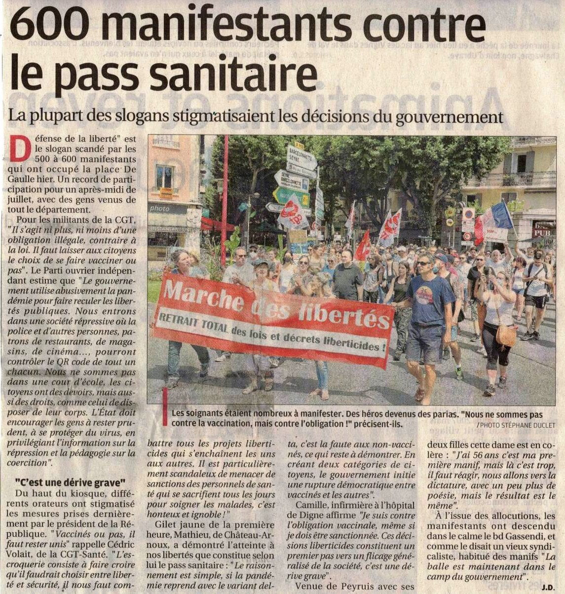 1369. Article La Provence du 18 juillet 2021