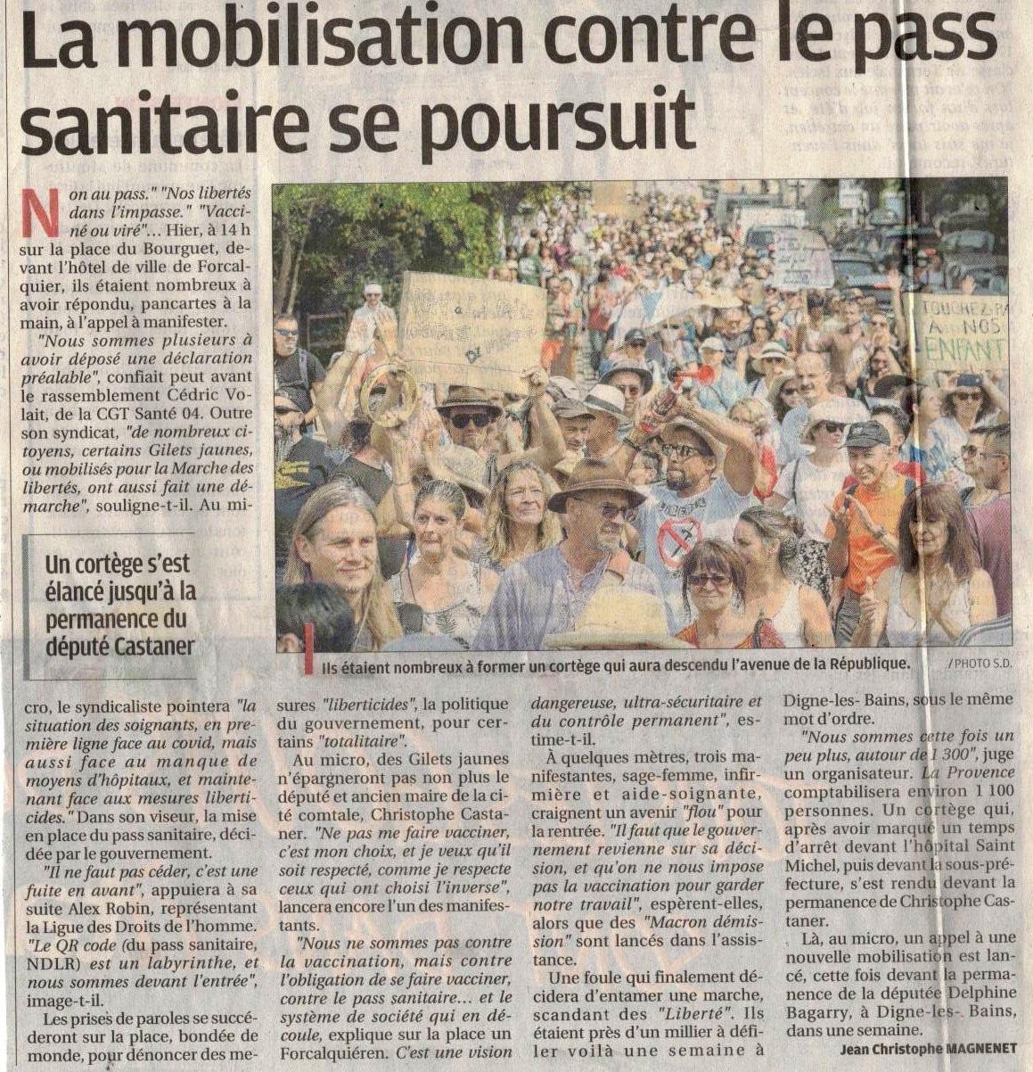 1370. Article La Provence manif libertés Forcalquier le 24 juillet 2021